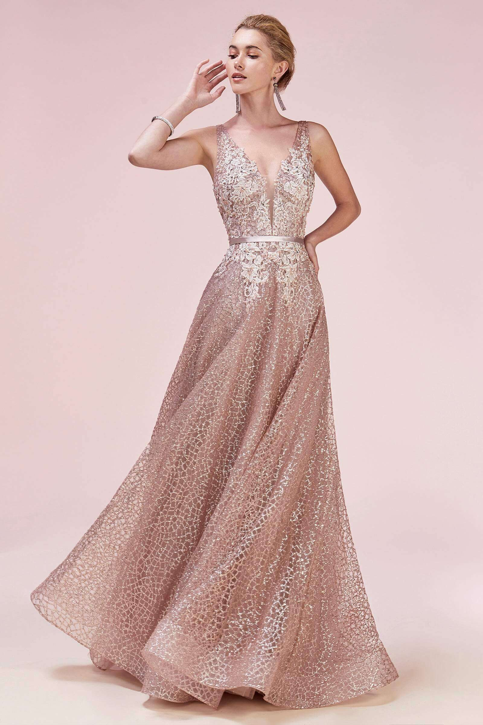 Style A0568 Andrea & Leo Pink Size 24 Andrea And Leo Backless Tall Height A-line Dress on Queenly