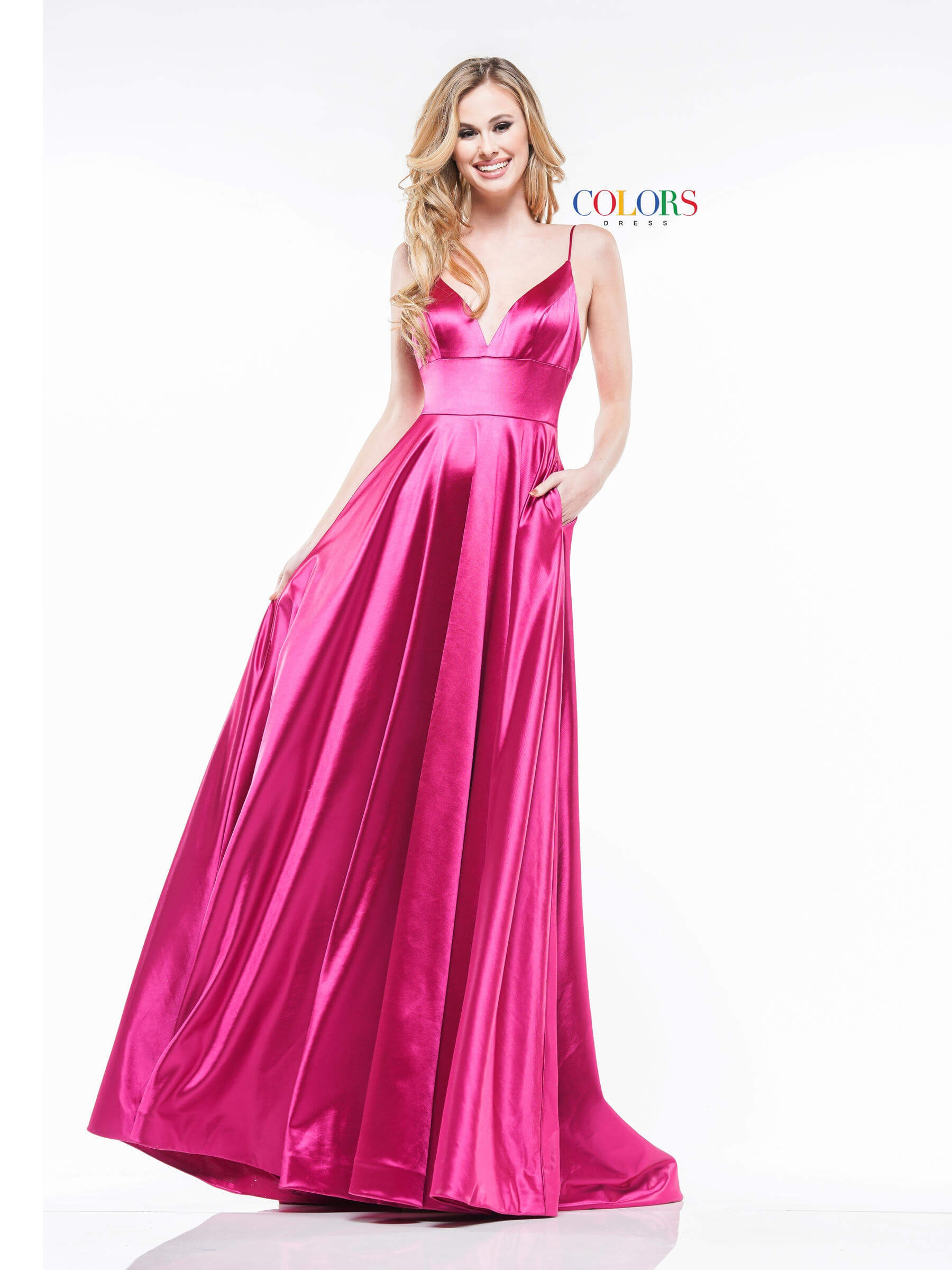 Style 2184 Colors Hot Pink Size 8 Plunge A-line Dress on Queenly