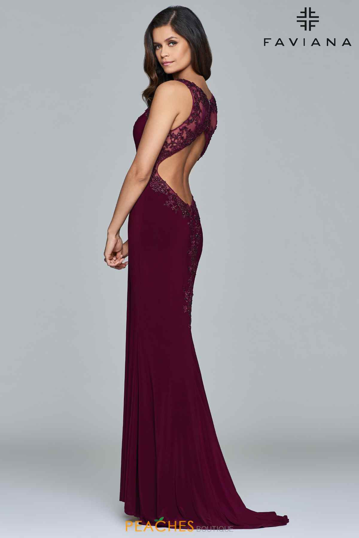 Style S7999 Faviana Red Size 00 Train Tall Height Lace Fitted Straight Dress on Queenly