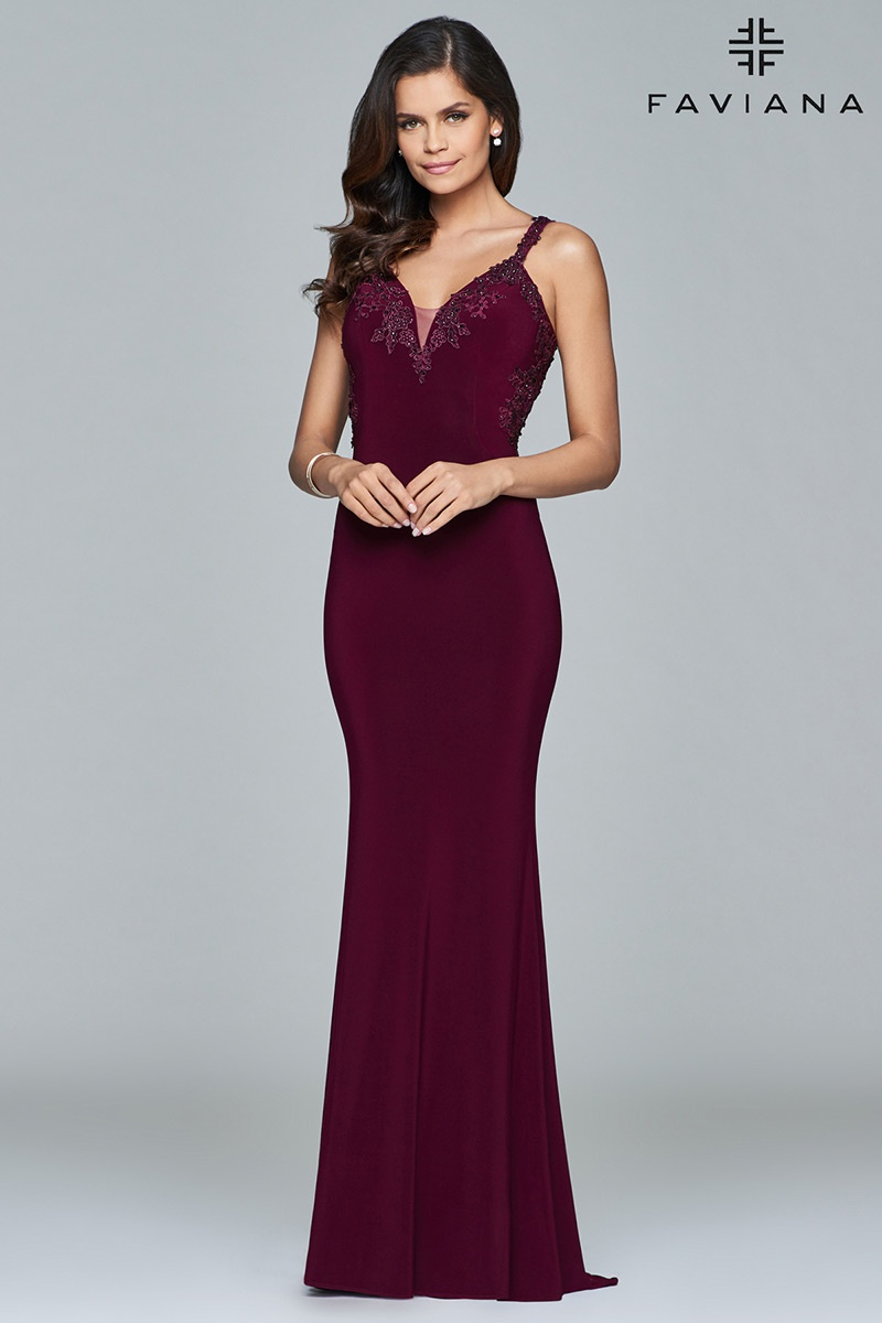 Style S7999 Faviana Red Size 6 Train Tall Height Lace Fitted Straight Dress on Queenly