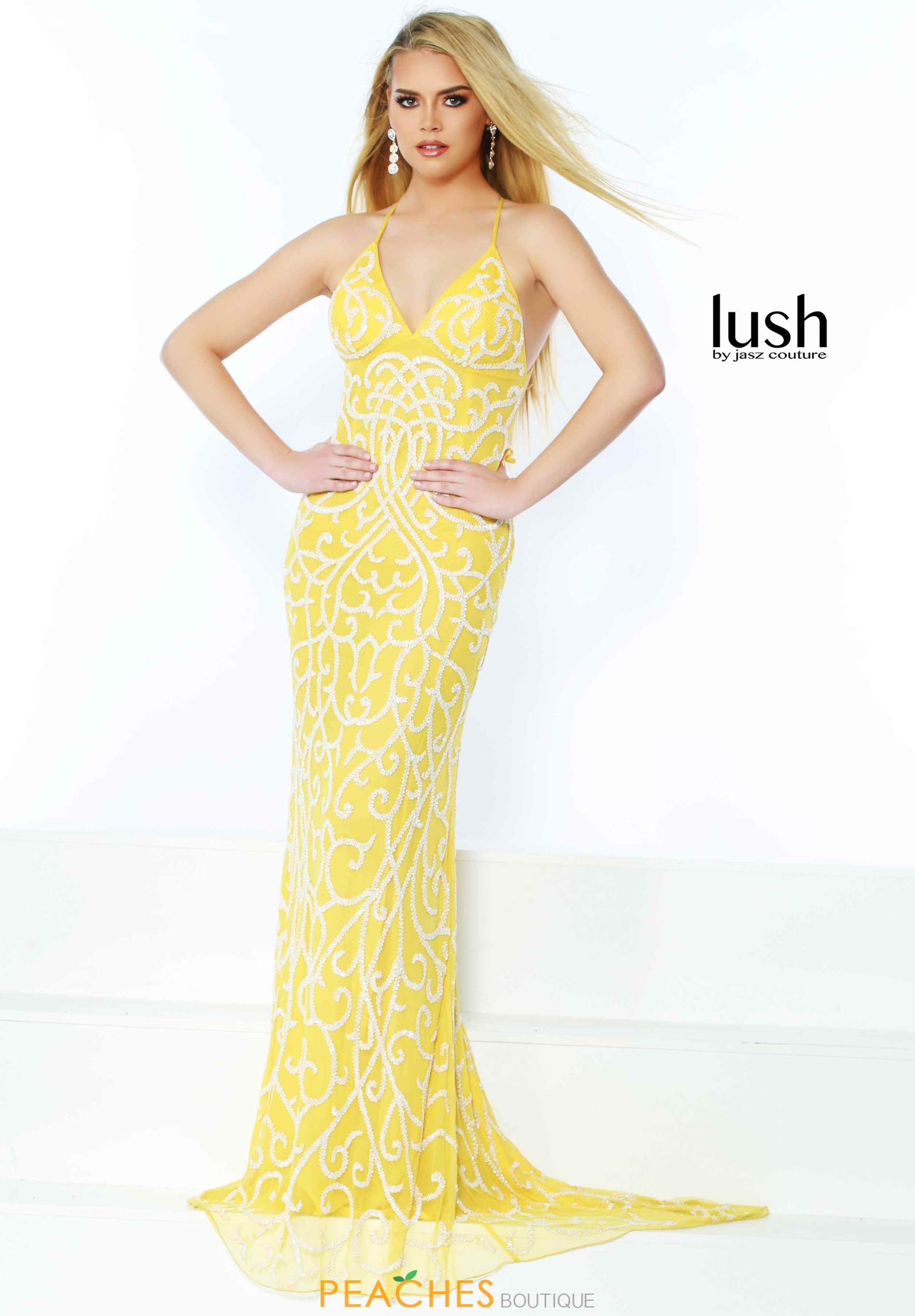 Style 1440 Jasz Couture Yellow Size 2 Pattern Train Spaghetti Strap Tall Height Straight Dress on Queenly
