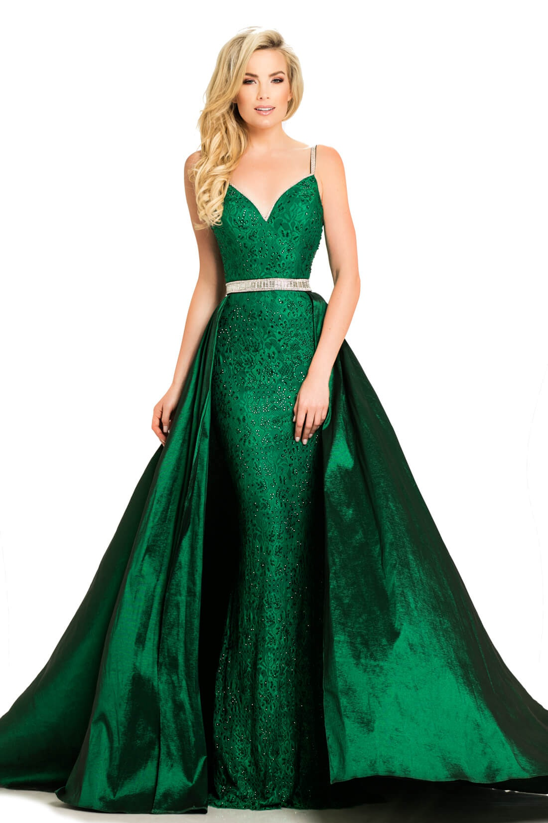 Style 7242 Johnathan Kayne Green Size 8 Tall Height Lace Train Dress on Queenly