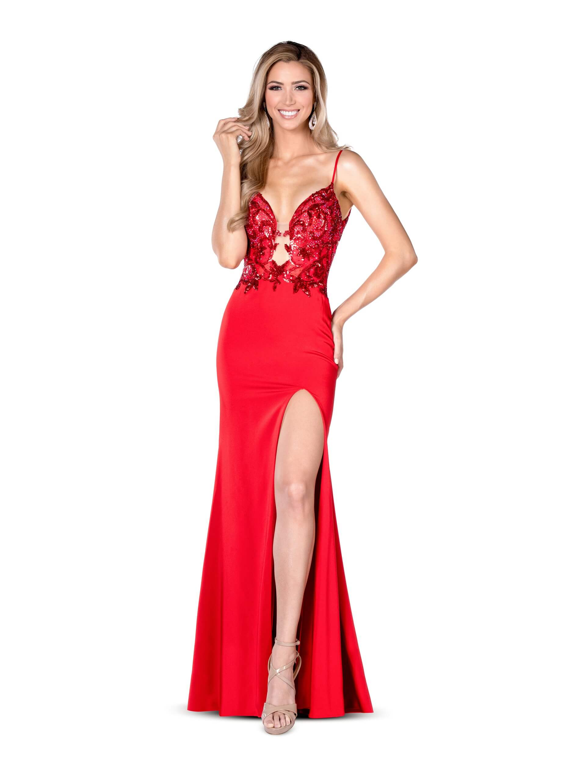Style 84006 Vienna Red Size 4 Jewelled Backless Tall Height V Neck Side slit Dress on Queenly
