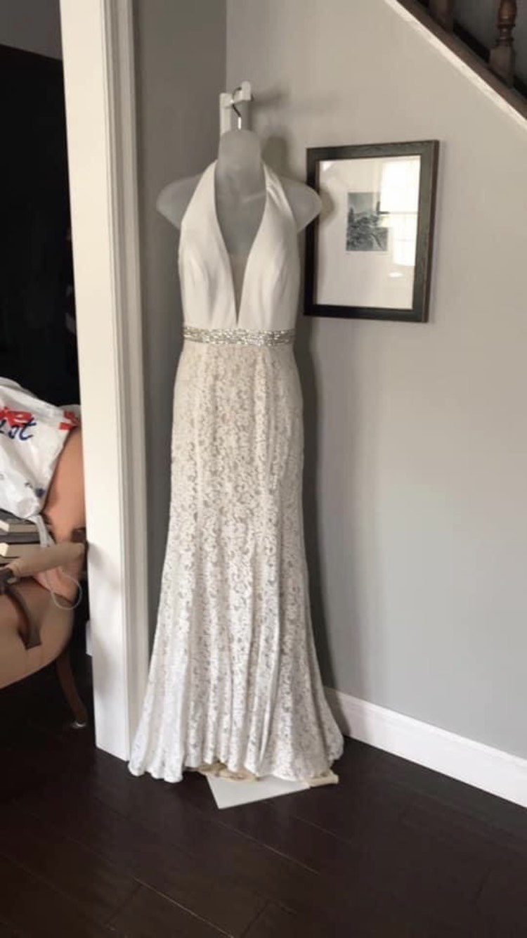 Panoply White Size 8 Wedding Halter Backless Mermaid Dress on Queenly