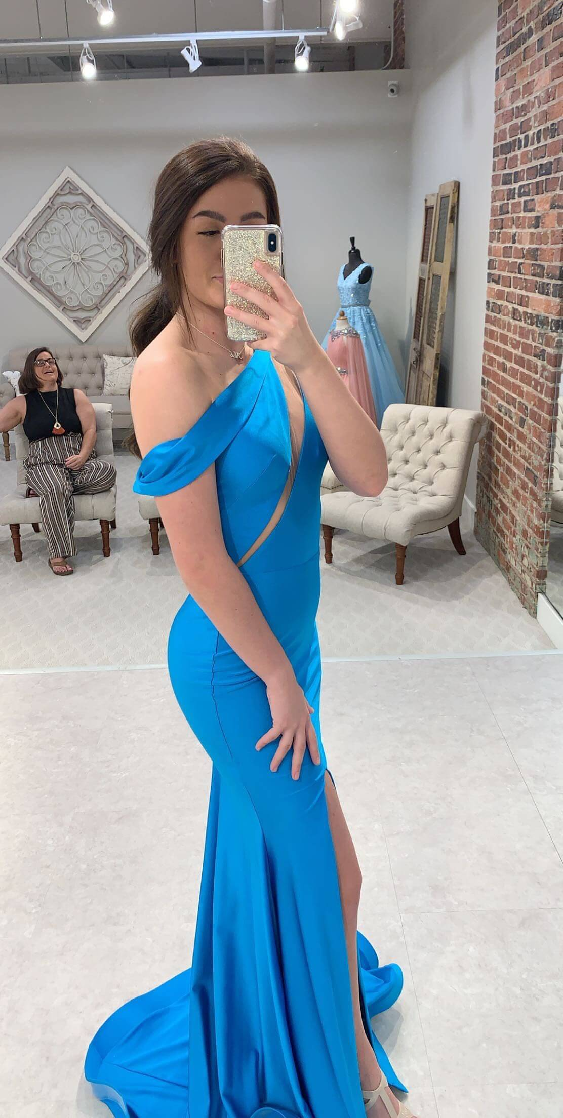 Jessica Angel Blue Size 2 Turquoise Tall Height Side slit Dress on Queenly