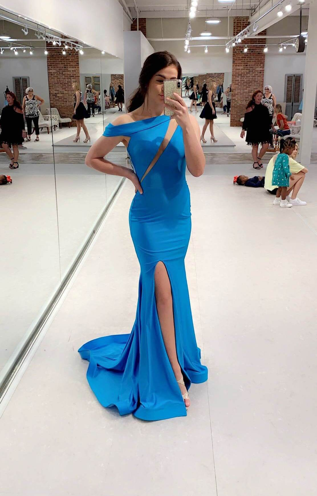 Jessica Angel Blue Size 2 One Shoulder Tall Height Side slit Dress on Queenly