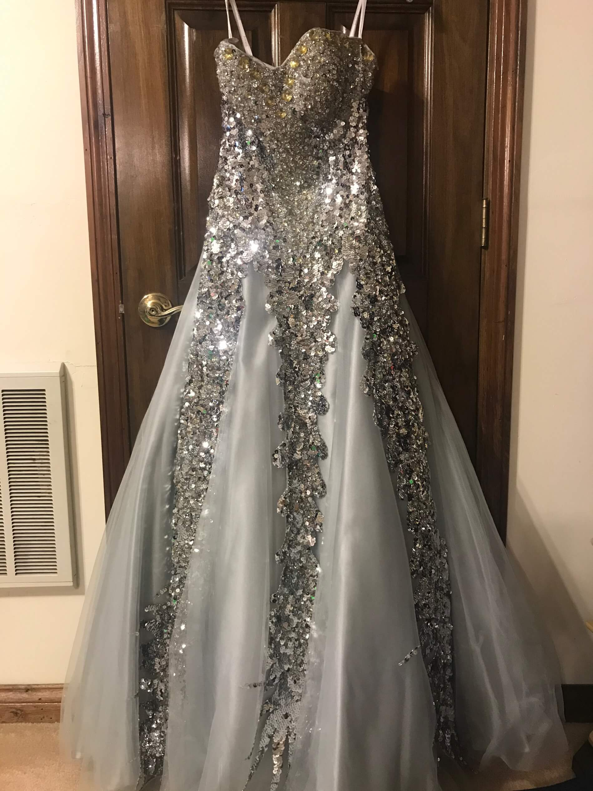 Jovani Silver Size 6 Strapless Sequin Ball gown on Queenly