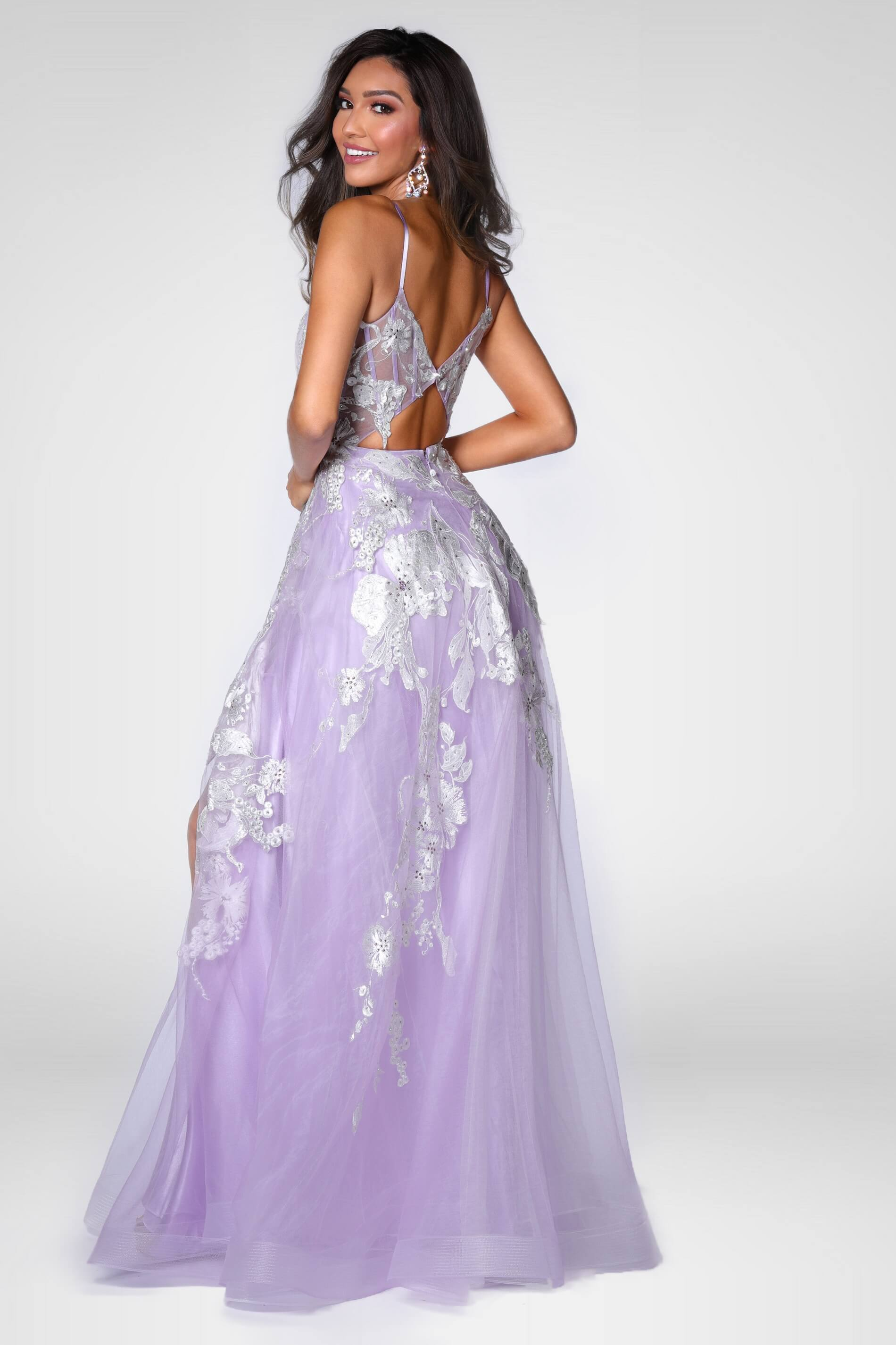 Style 7860 Vienna Purple Size 0 Floral Tall Height Side slit Dress on Queenly