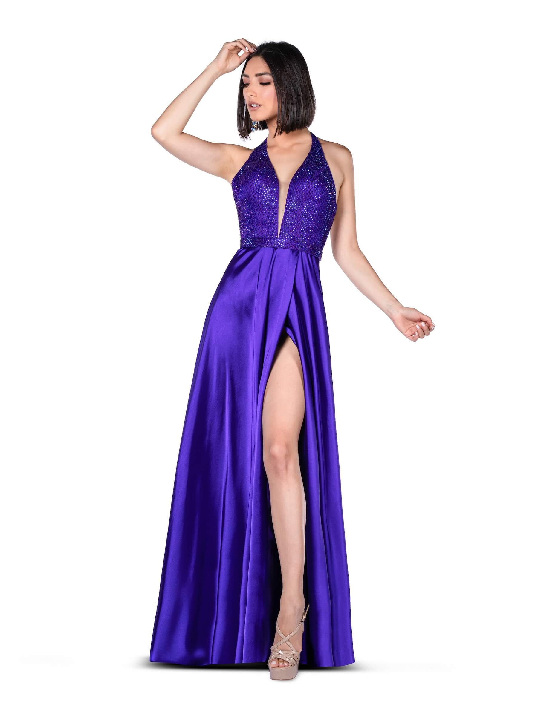 Style 7918 Vienna Purple Size 2 Halter Tall Height Side slit Dress on Queenly