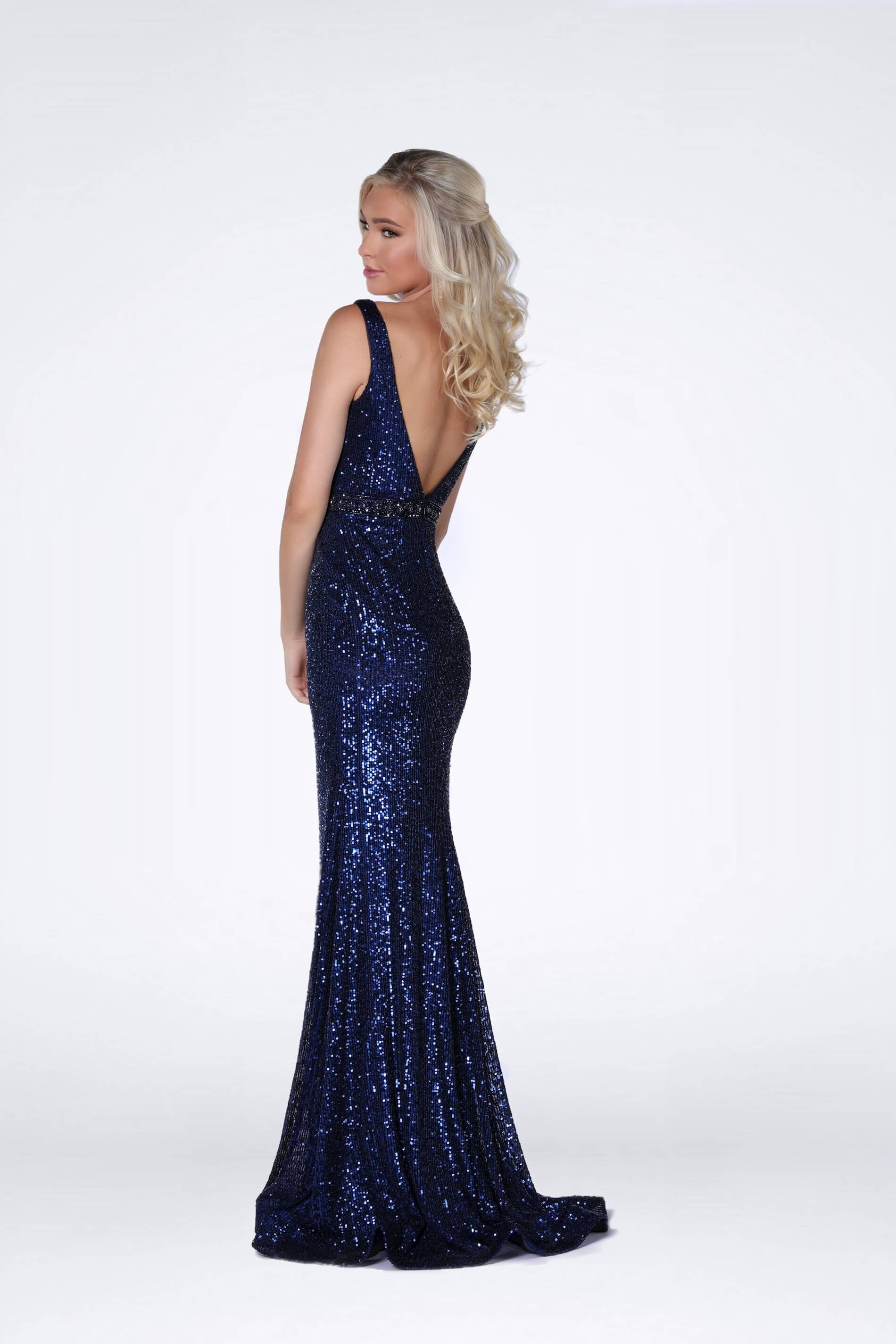 Style 8830 Vienna Blue Size 10 Backless Tall Height Straight Dress on Queenly
