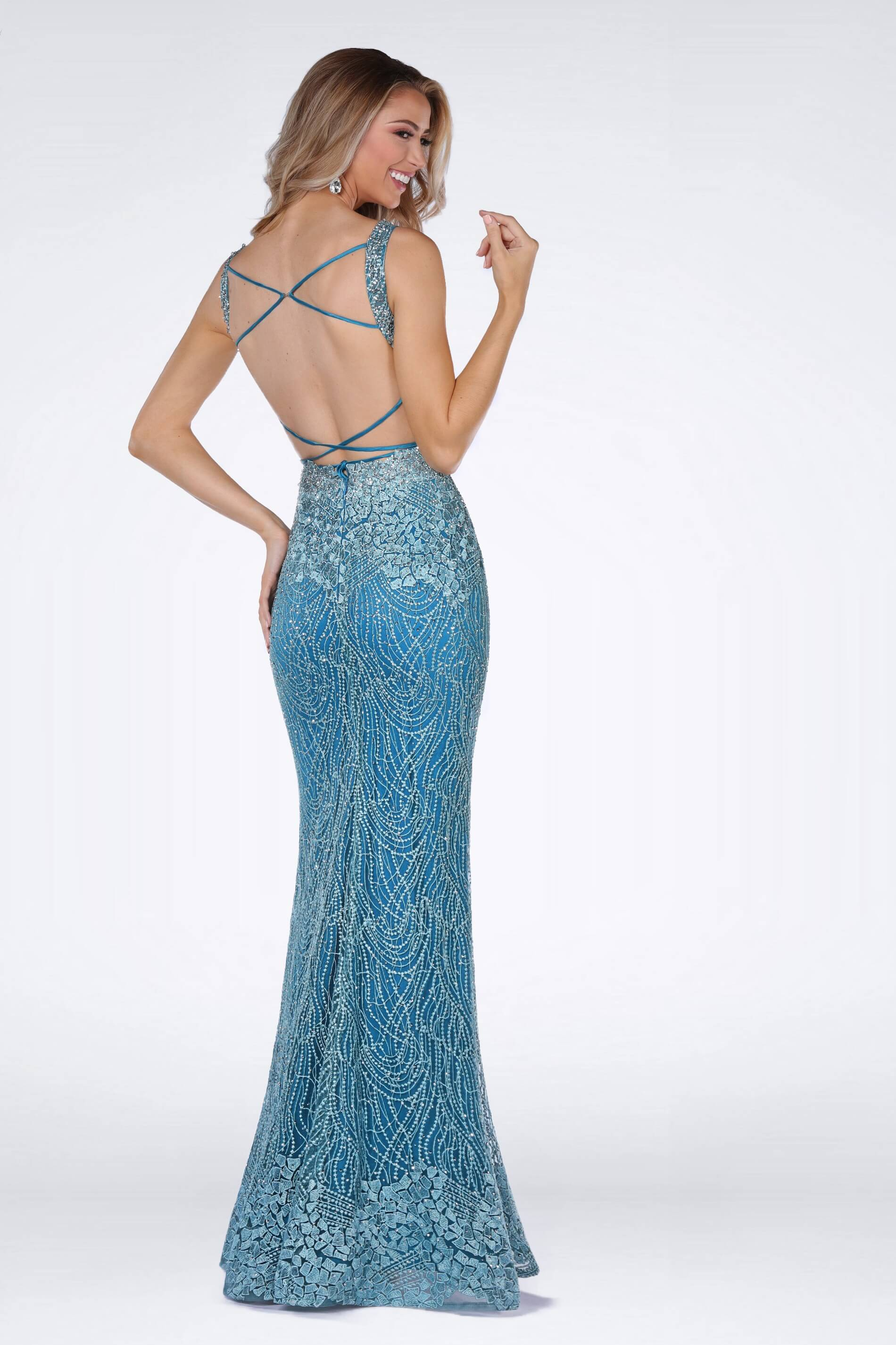 Style 8915 Vienna Blue Size 4 Turquoise Corset Tall Height Mermaid Dress on Queenly