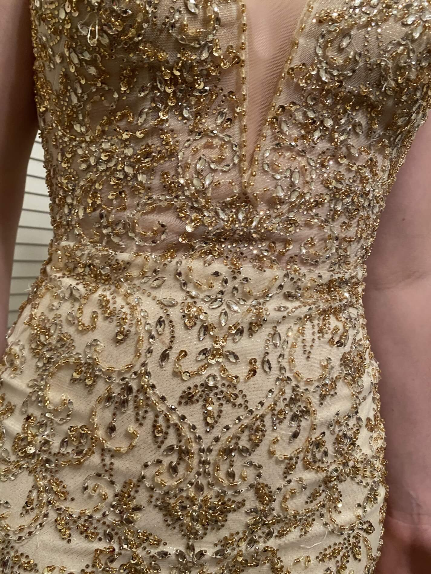 Mori Lee Gold Size 4 Plunge Pageant Jewelled Backless Mermaid Dress on Queenly