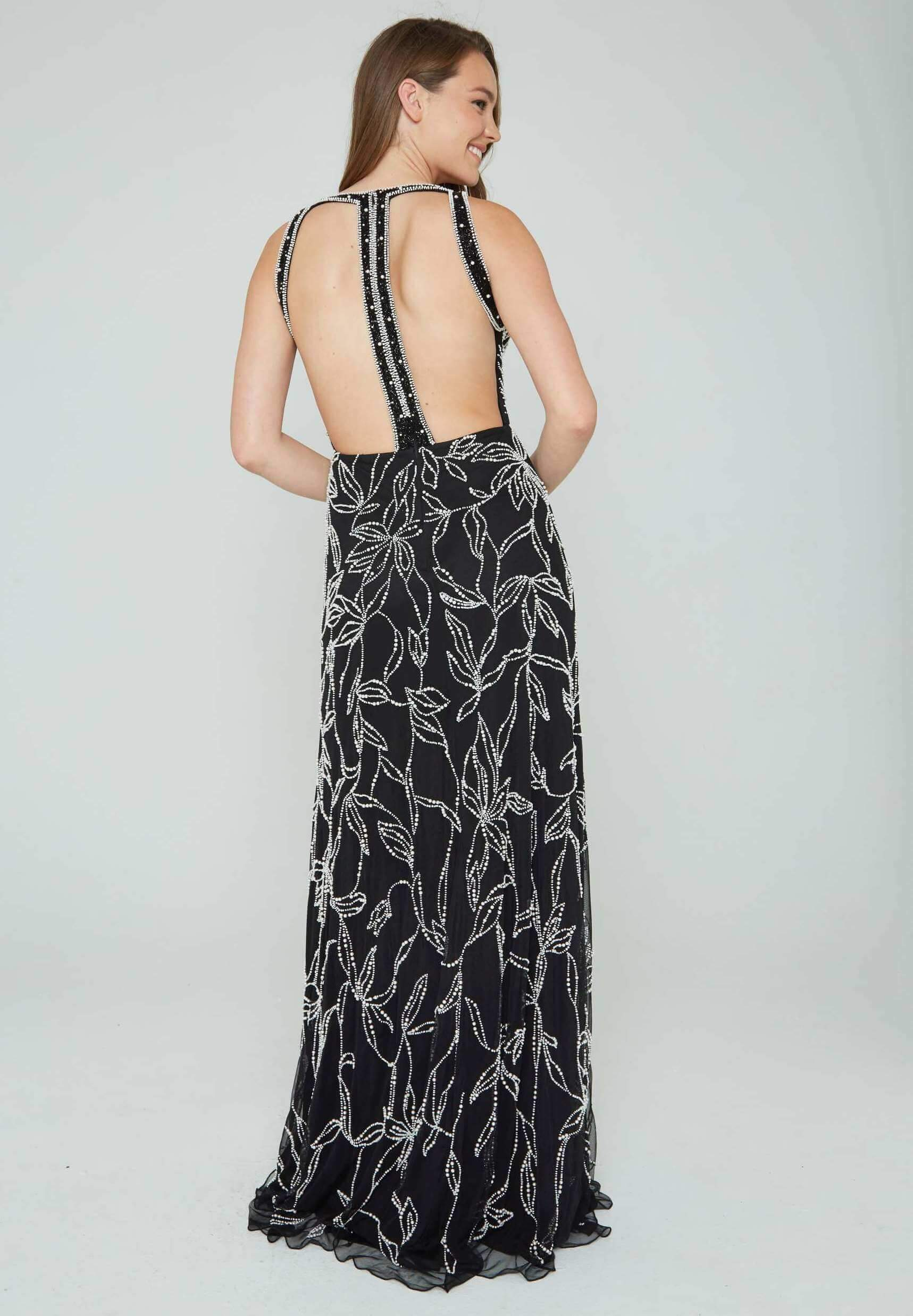 Style 165 Aleta Black Size 2 Plunge Backless Tall Height Straight Dress on Queenly