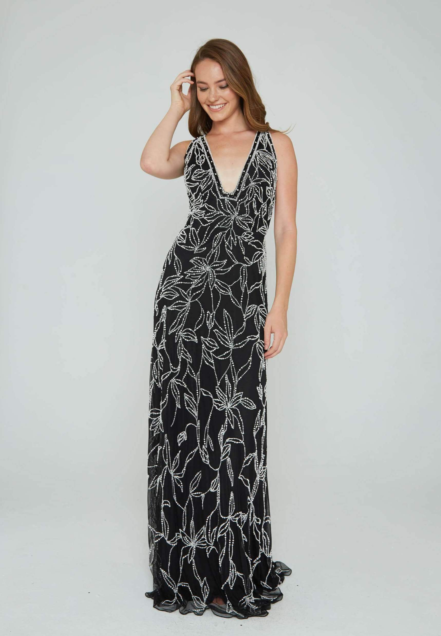 Style 165 Aleta Black Size 16 Plunge Backless Tall Height Straight Dress on Queenly