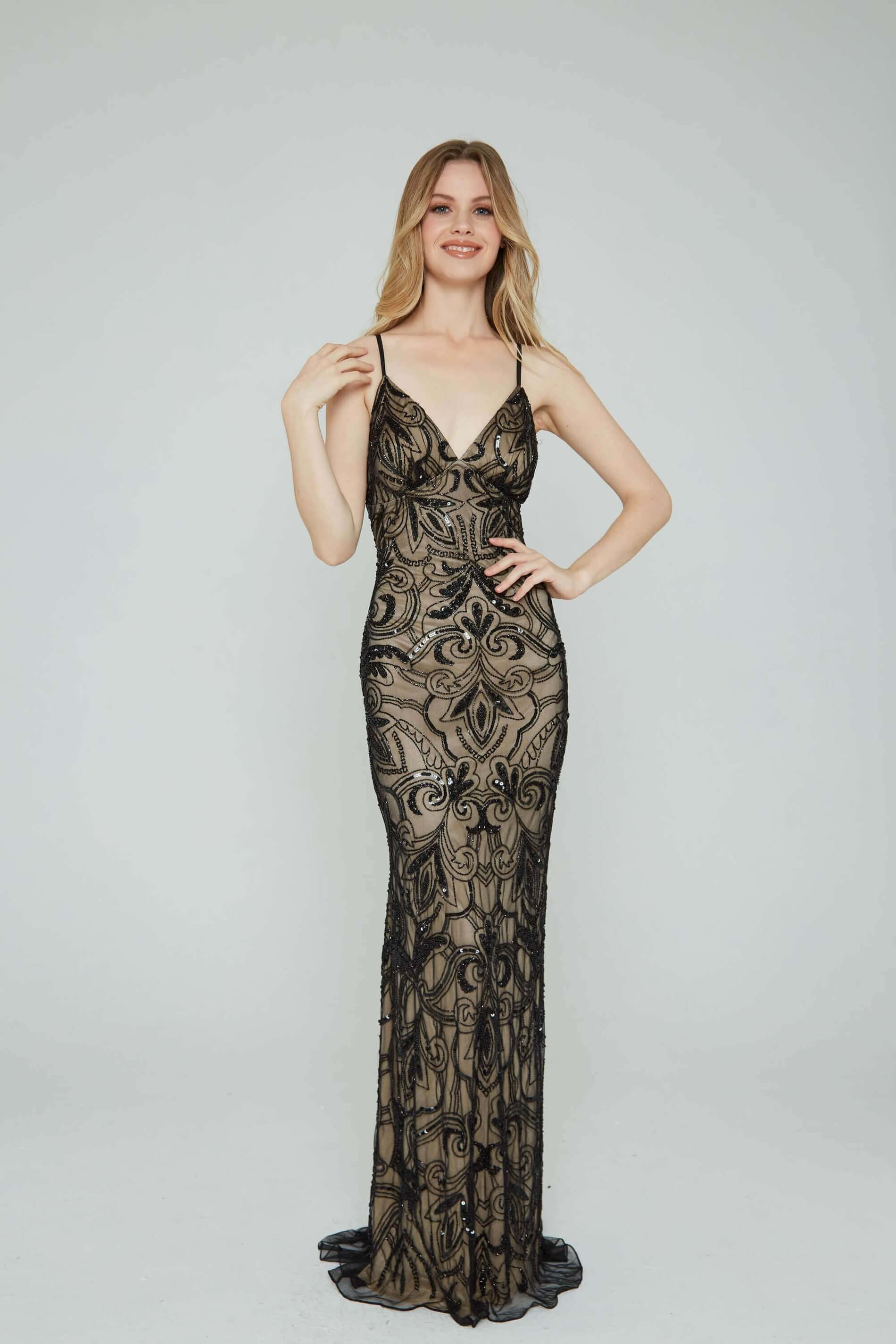 Style 196 Aleta Black Size 00 Prom Nude Tall Height Straight Dress on Queenly