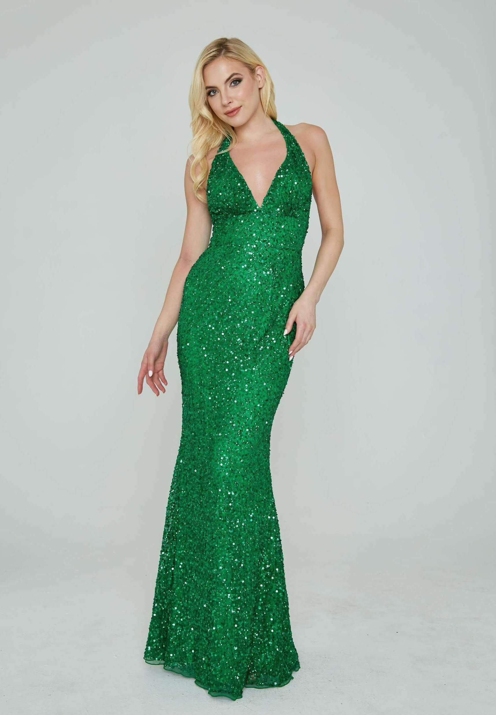 Style 353 Aleta Green Size 18 Halter Backless Tall Height Straight Dress on Queenly