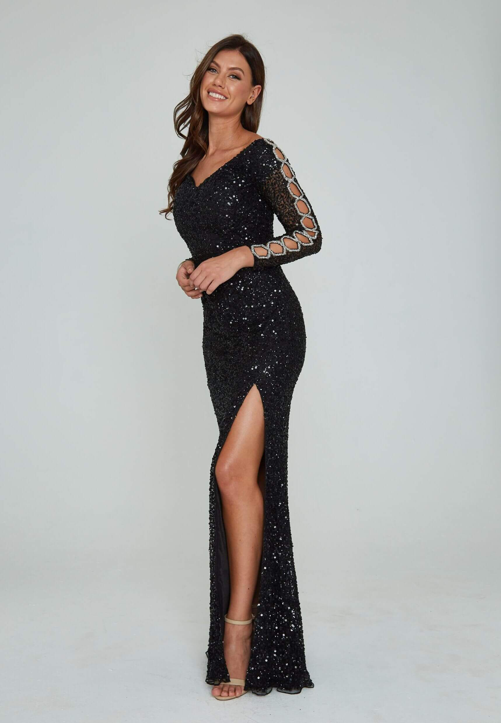 Style 365 Aleta Black Size 00 Long Sleeve Sleeves Pageant Tall Height Side slit Dress on Queenly