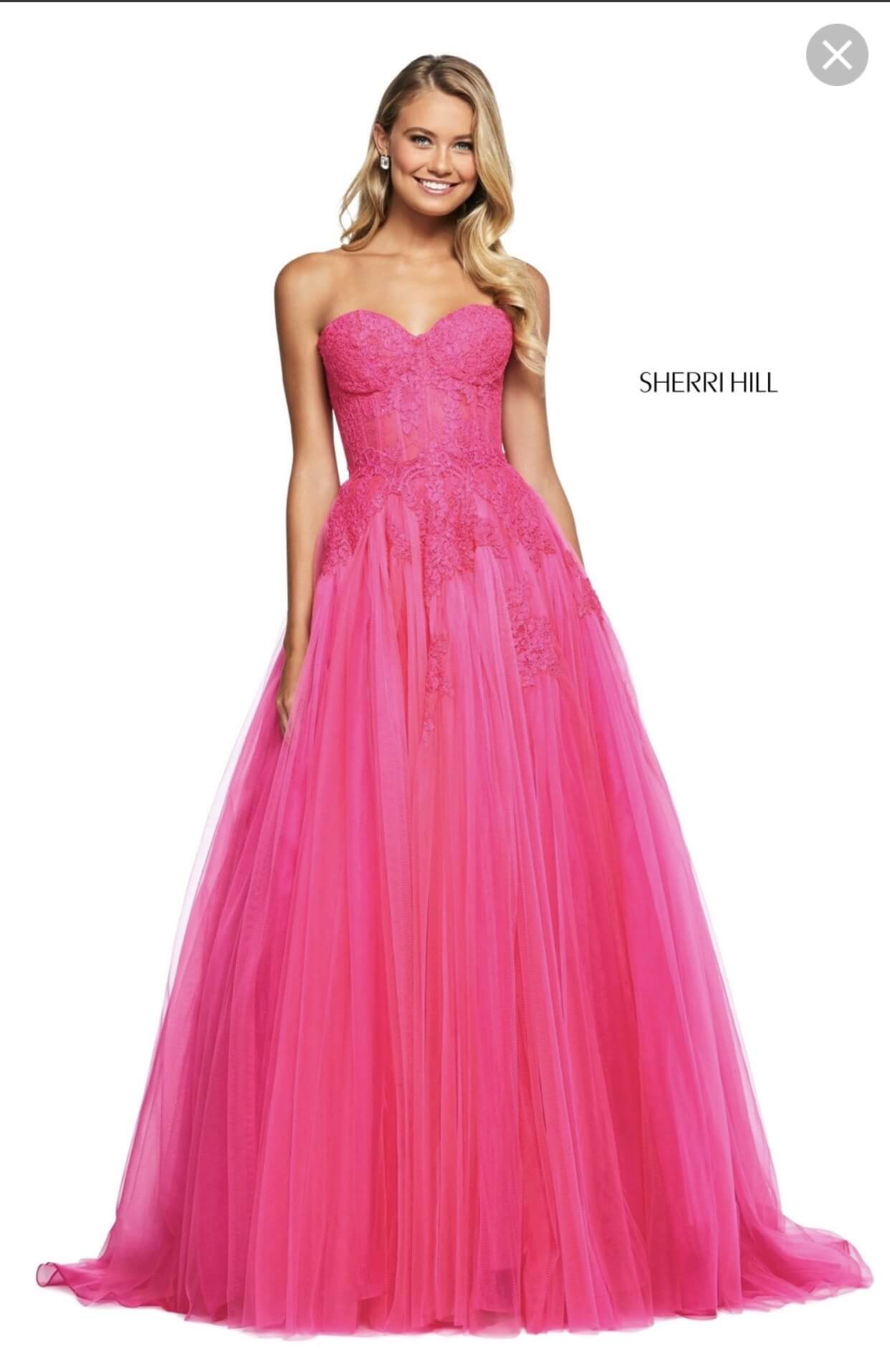 Sherri Hill Hot Pink Size 4 Strapless Train Dress on Queenly