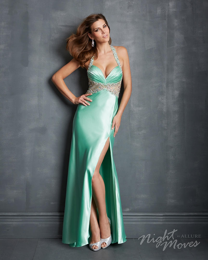 Style 7066 Night Moves Blue Size 12 Plus Size Side slit Dress on Queenly