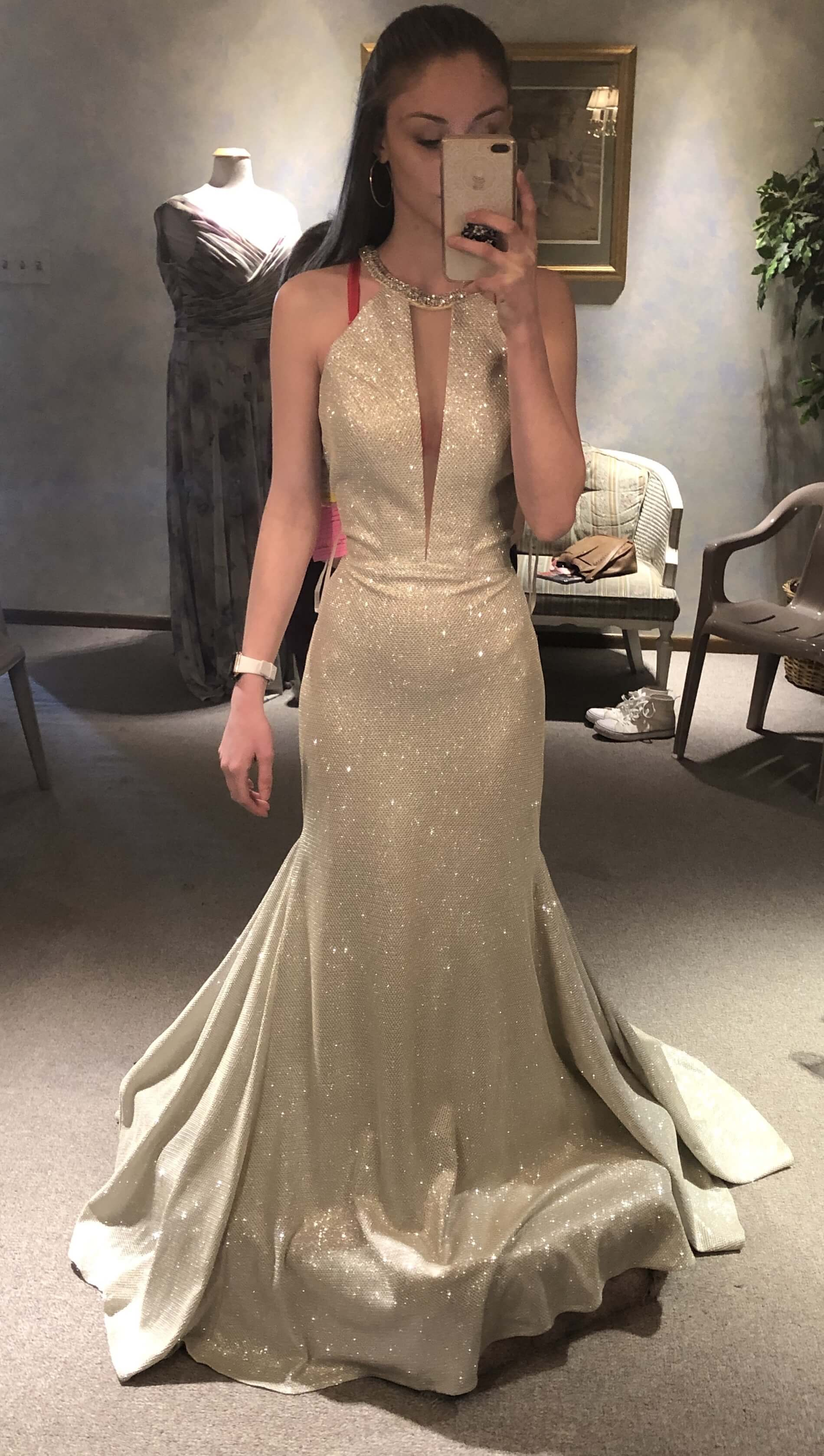 Mori Lee Gold Size 0 Keyhole Nude Train Dress on Queenly