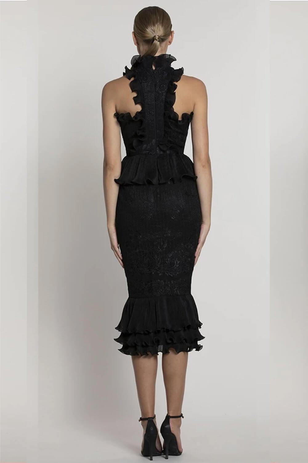 Style BB39D25 Bariano Black Size 4 Tall Height Lace Wedding Guest Cocktail Dress on Queenly