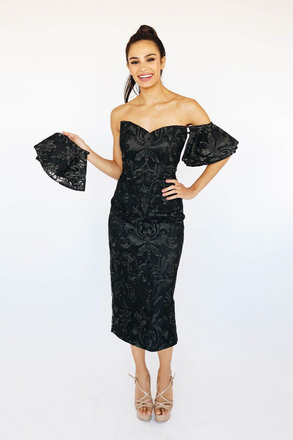 Style B38D21 Bariano Black Size 10 Tall Height Lace Wedding Guest Fitted Cocktail Dress on Queenly