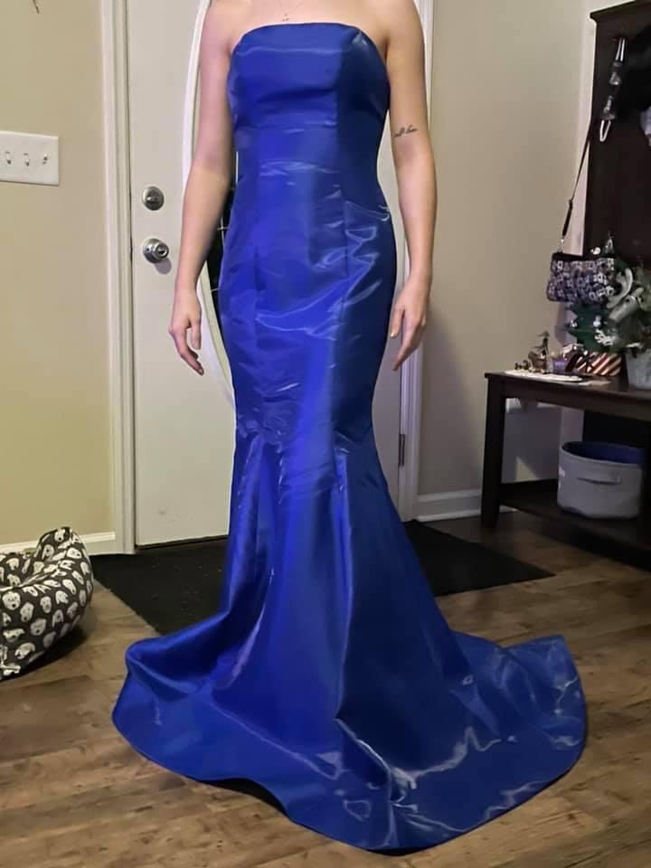 Mori Lee Blue Size 2 Overskirt Pageant Train Mermaid Dress on Queenly