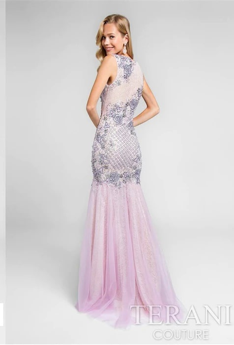 Style 1711P2601 Terani Couture Purple Size 4 Jewelled Lavender Prom Pageant Mermaid Dress on Queenly