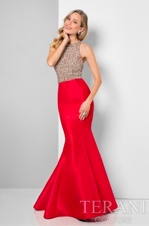 Style 1712P2457 Terani Couture Red Size 4 Pageant Flare Tall Height Fitted Mermaid Dress on Queenly