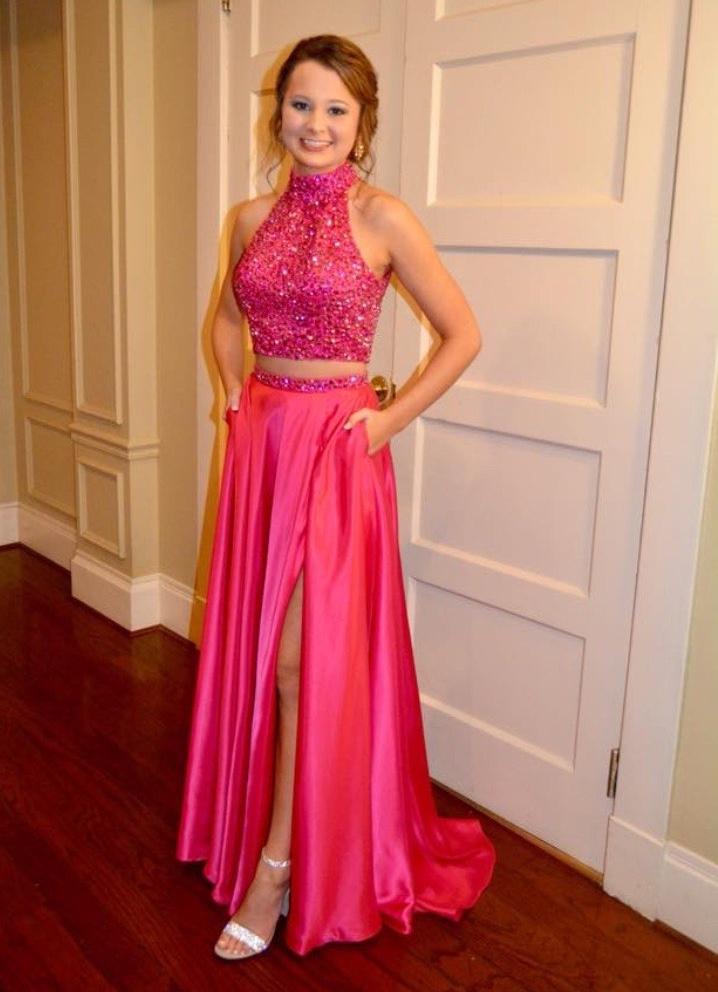 Jovani Pink Size 4 Jewelled Halter Side slit Dress on Queenly