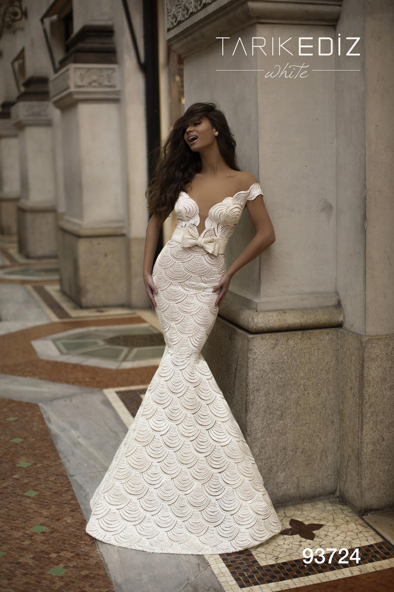 Style 93724 Tarik Ediz White Size 4 Prom Mermaid Dress on Queenly