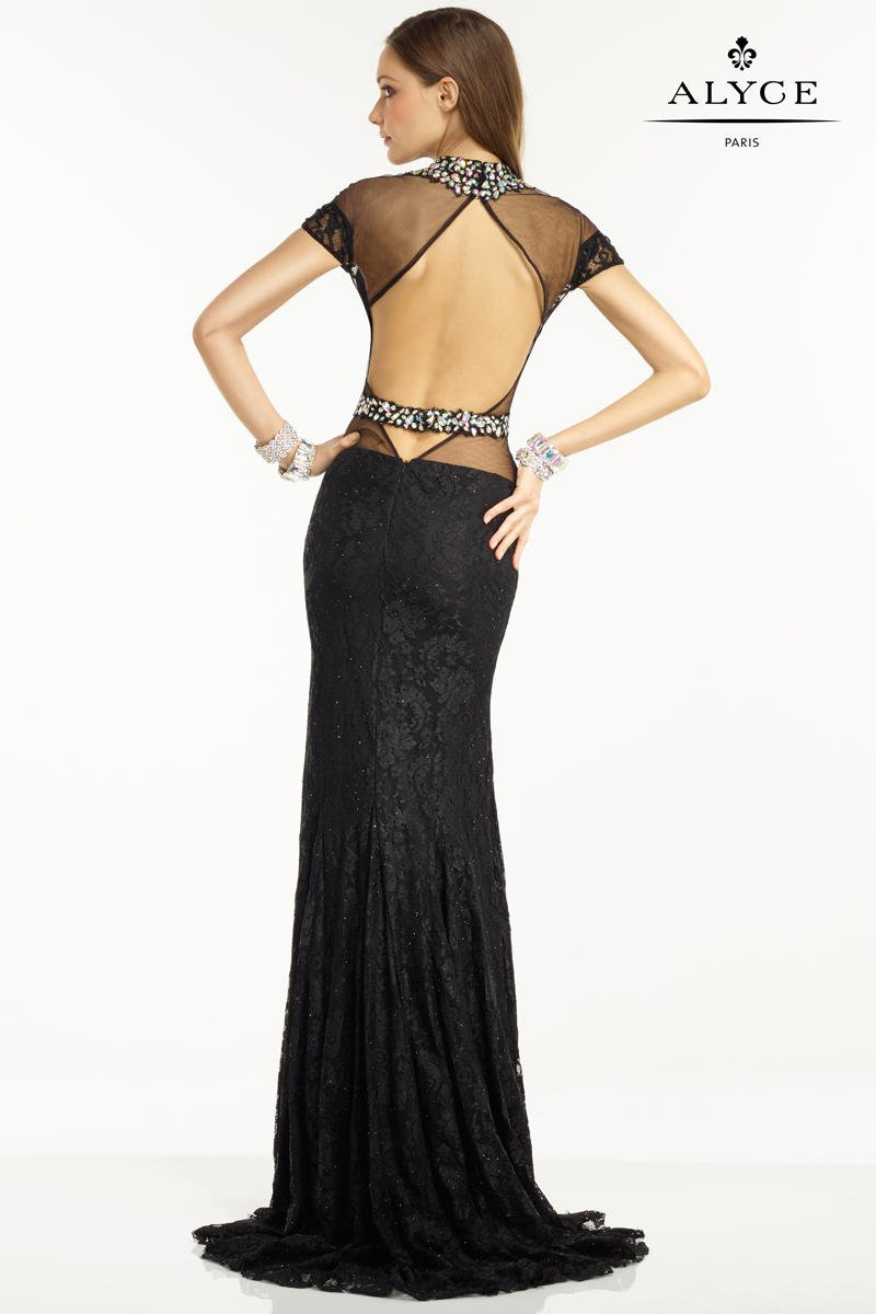 Style 6553 Alyce Paris Black Size 12 Pageant Sheer Tall Height Mermaid Dress on Queenly