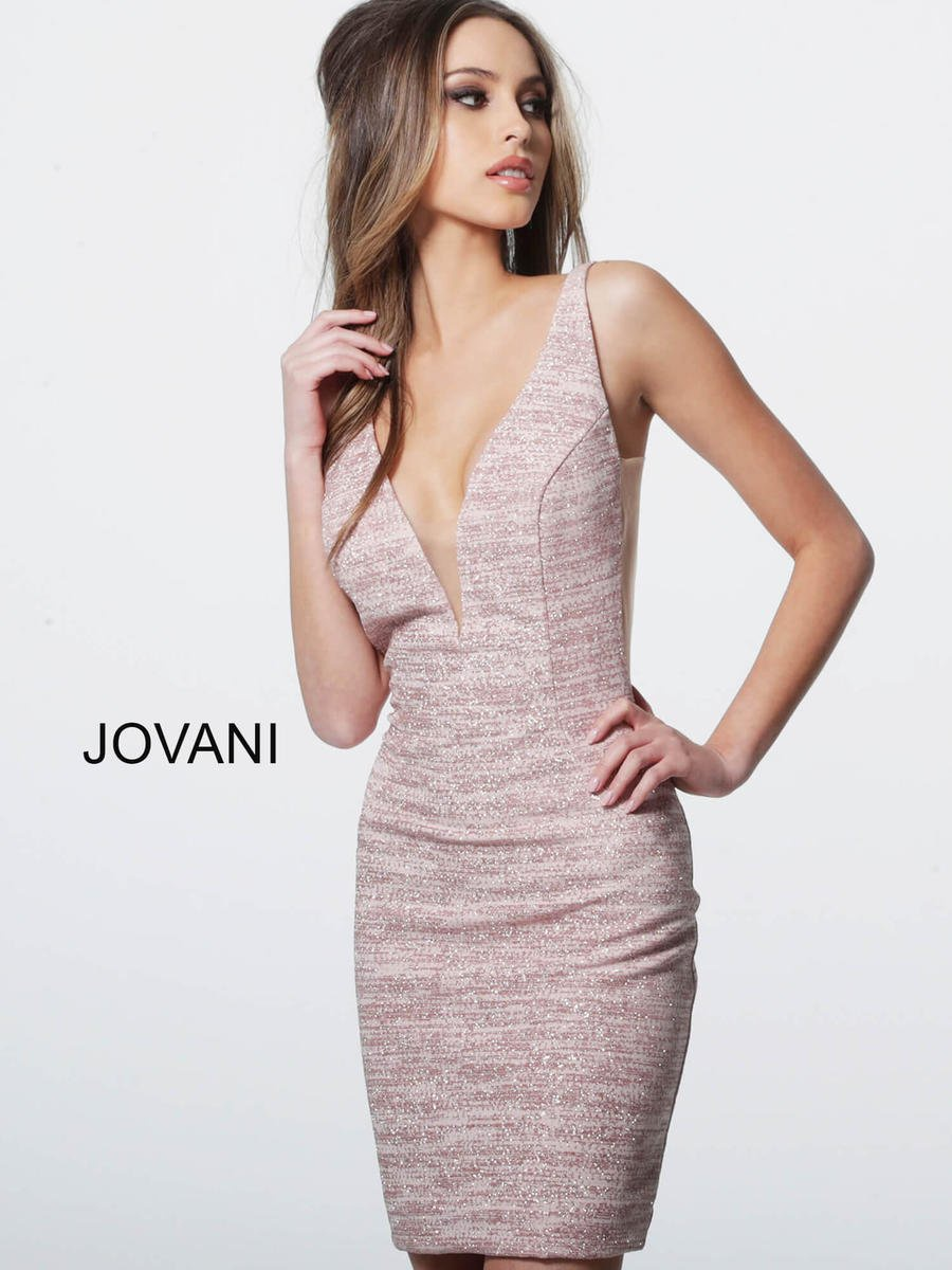 Style 45810 Jovani Light Pink Size 8 Homecoming Backless Cocktail Dress on Queenly