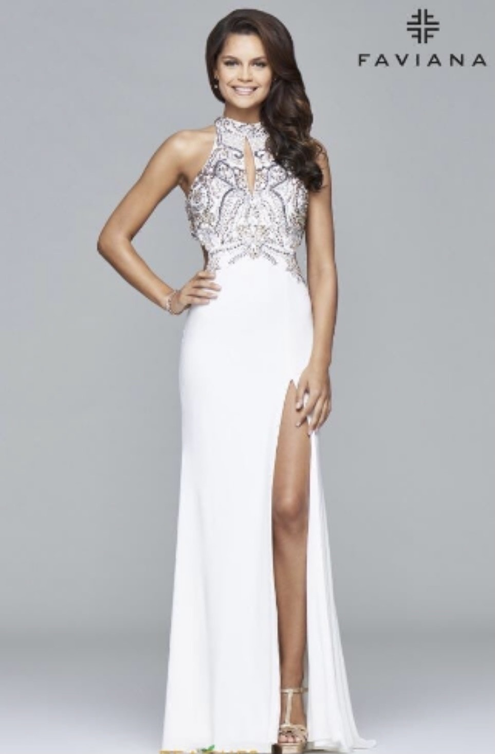 Faviana White Size 2 Prom Halter Side slit Dress on Queenly