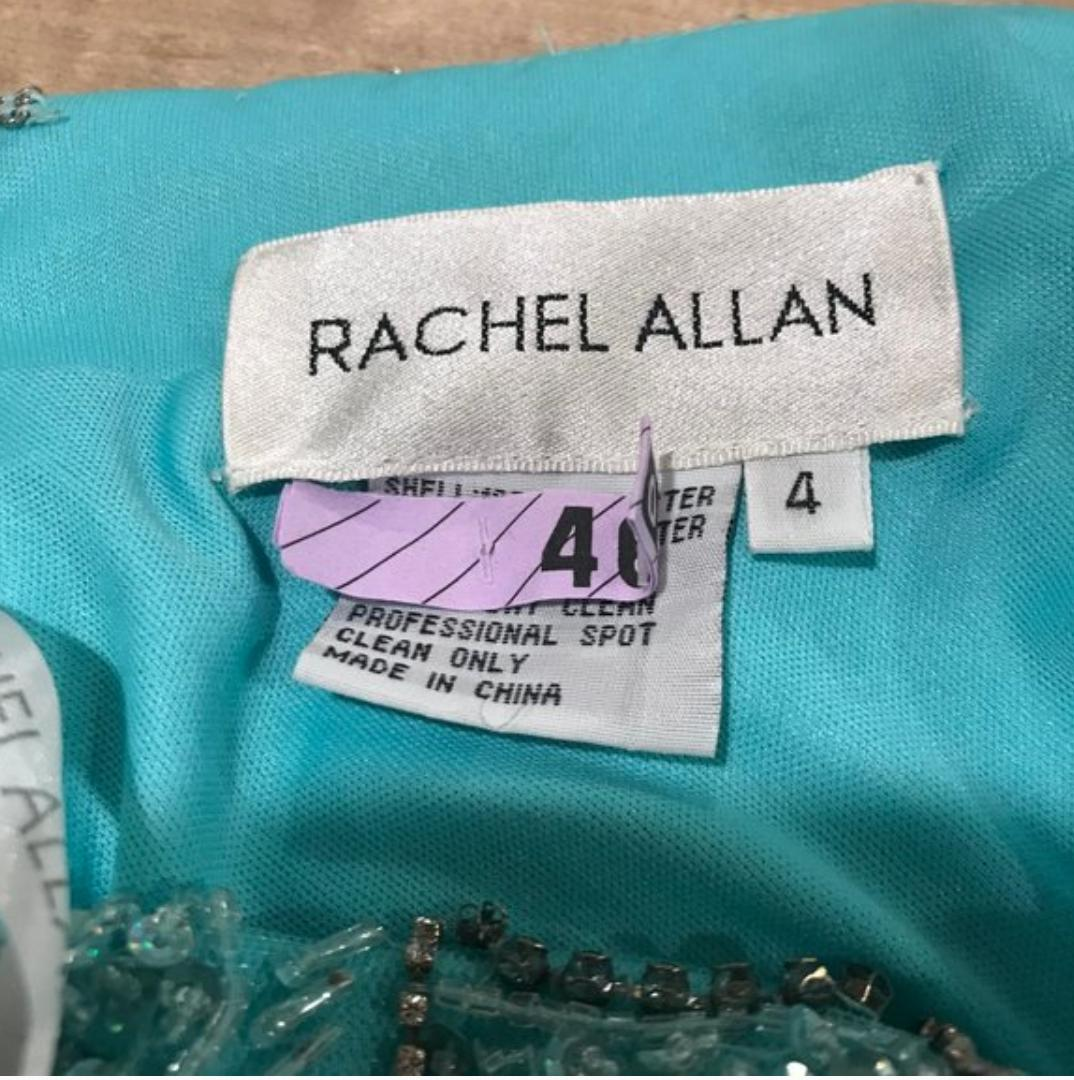 Rachel Allan Green Size 4 Prom Turquoise Side slit Dress on Queenly