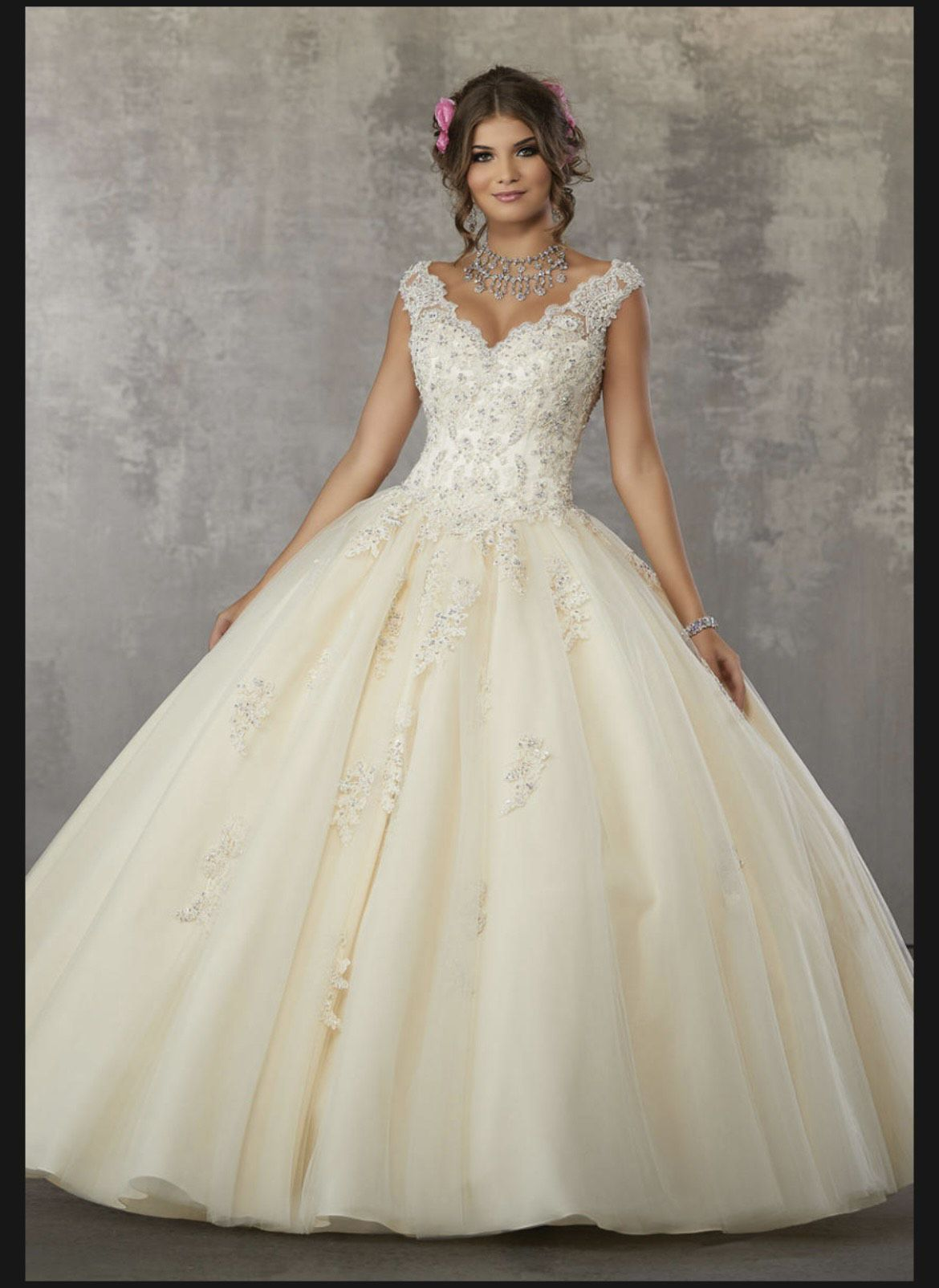Mori Lee Nude Size 8 Quinceanera Lace Ball gown on Queenly