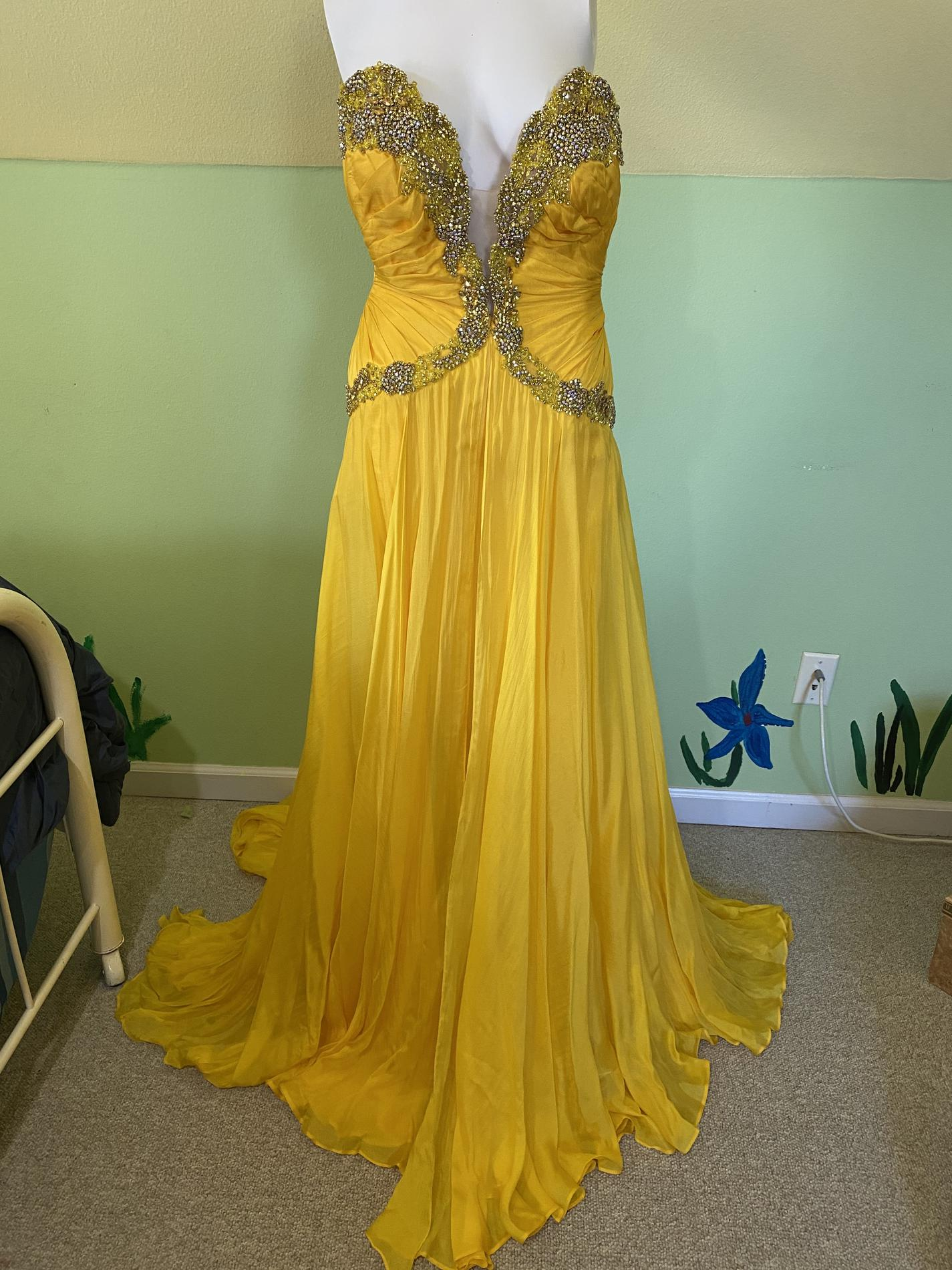 Sherri Hill Yellow Size 4 Overskirt Pageant Sweetheart Straight Dress on Queenly