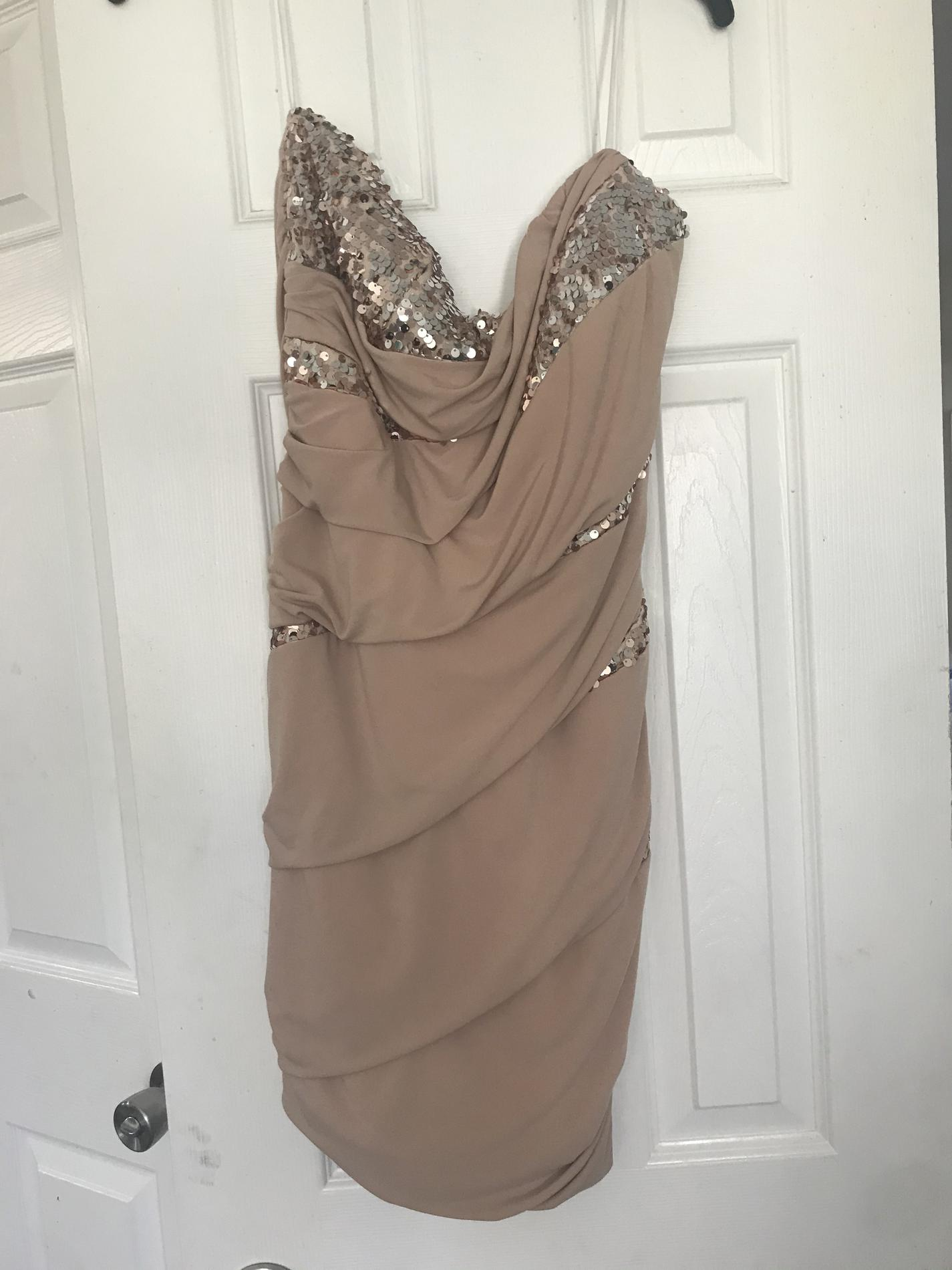 deb Gold Size 16 Mini Sorority Formal Cocktail Dress on Queenly