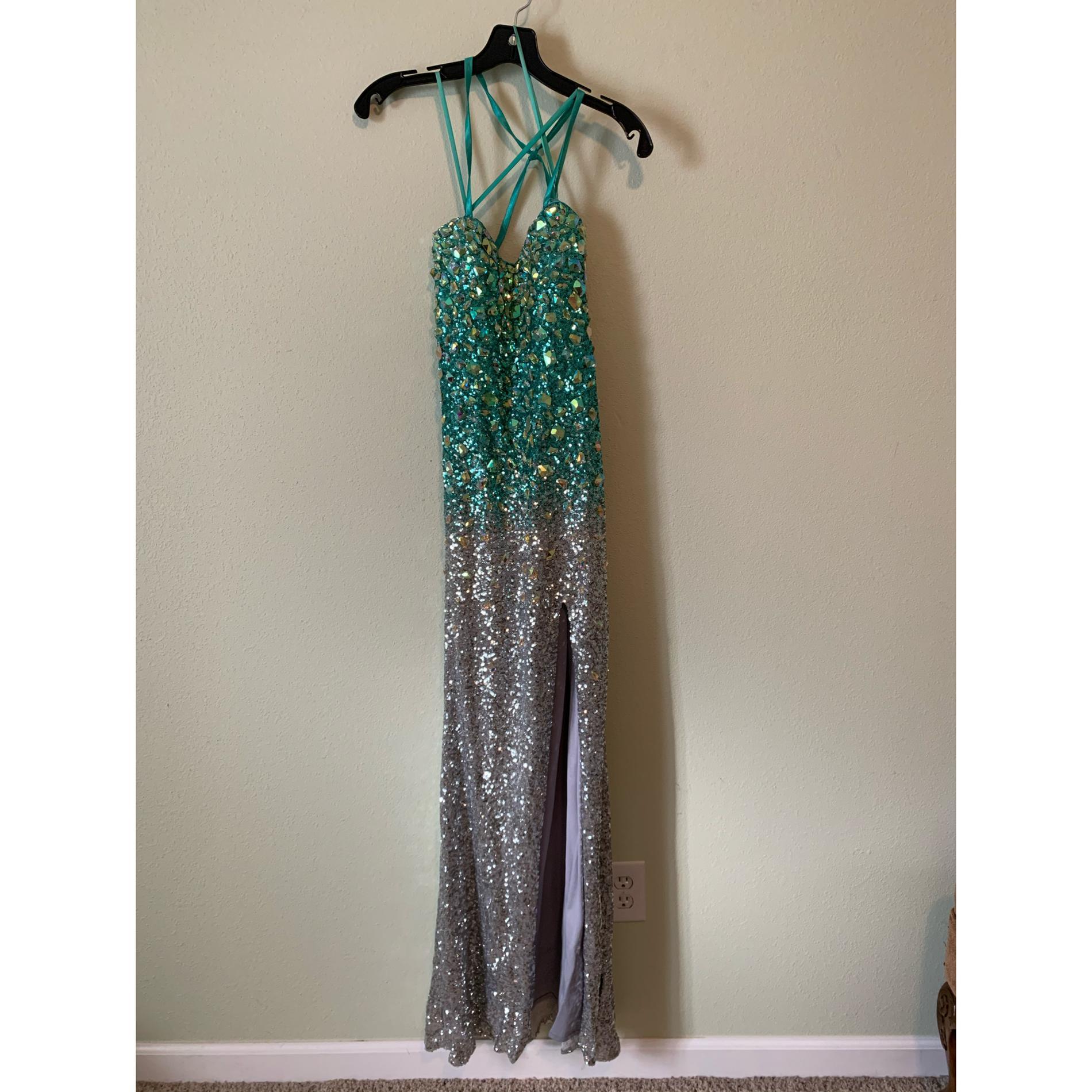 Blue Size 8 Side slit Dress on Queenly