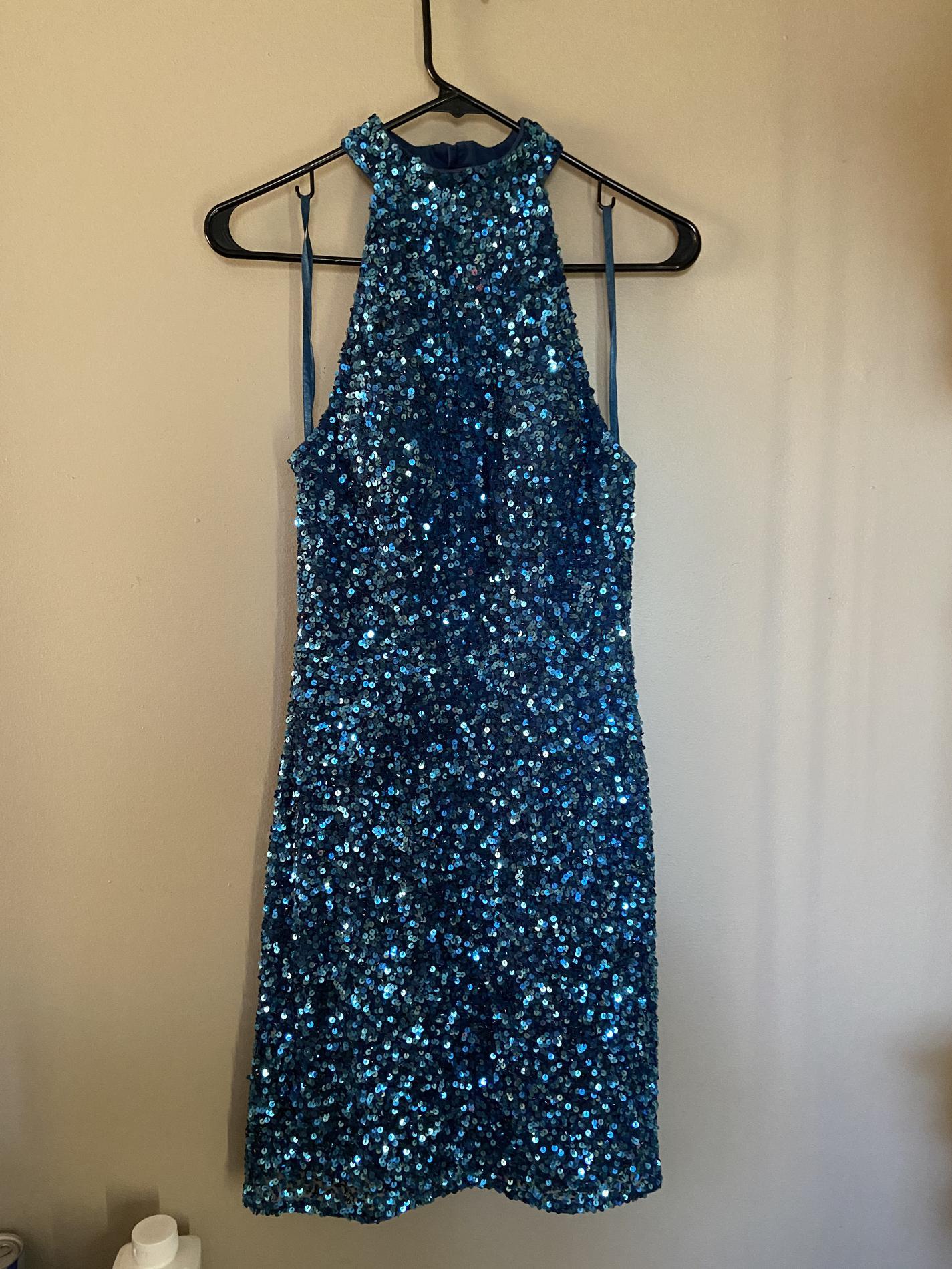 Ashley Lauren Blue Size 6 Sorority Formal Cocktail Dress on Queenly