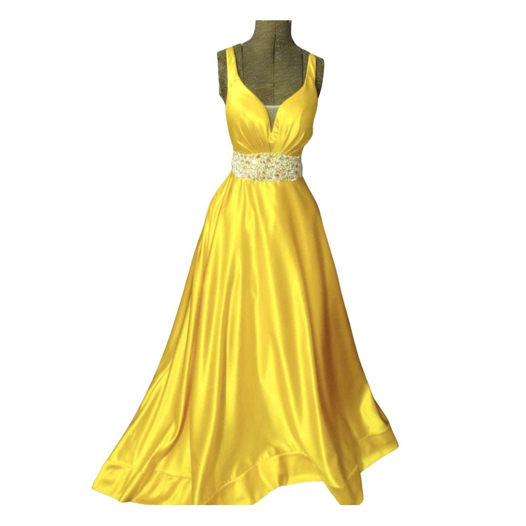 Custom Designer Yellow Size 2 Jewelled Pageant Backless Ball gown on Queenly