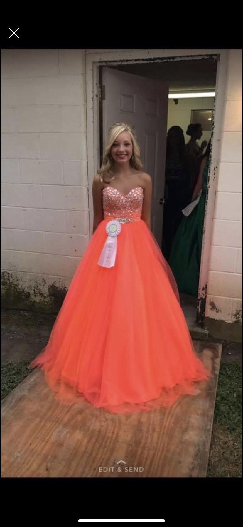 Orange Size 2 Ball gown on Queenly