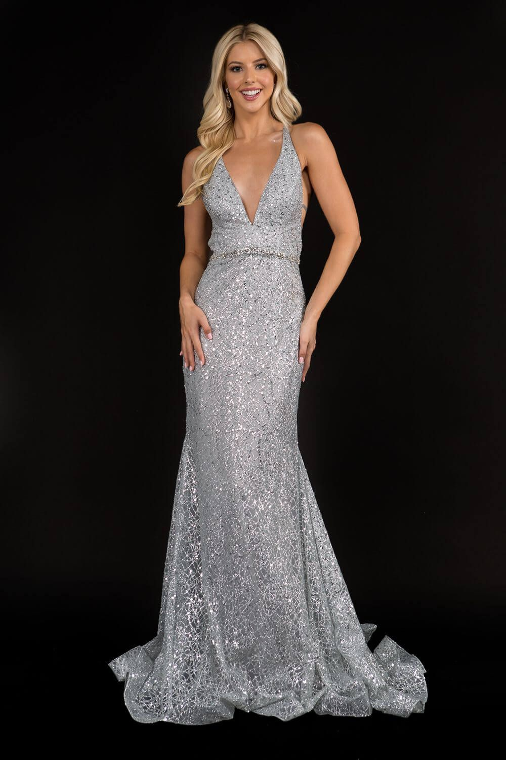 Style 8197 Nina Canacci Silver Size 10 Pageant Corset Tall Height Mermaid Dress on Queenly