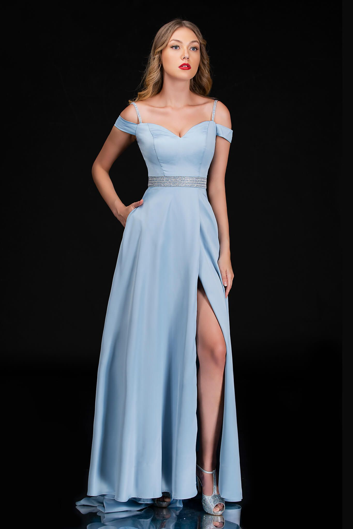 Style 6536 Nina Canacci Light Blue Size 14 Plus Size Prom Side slit Dress on Queenly