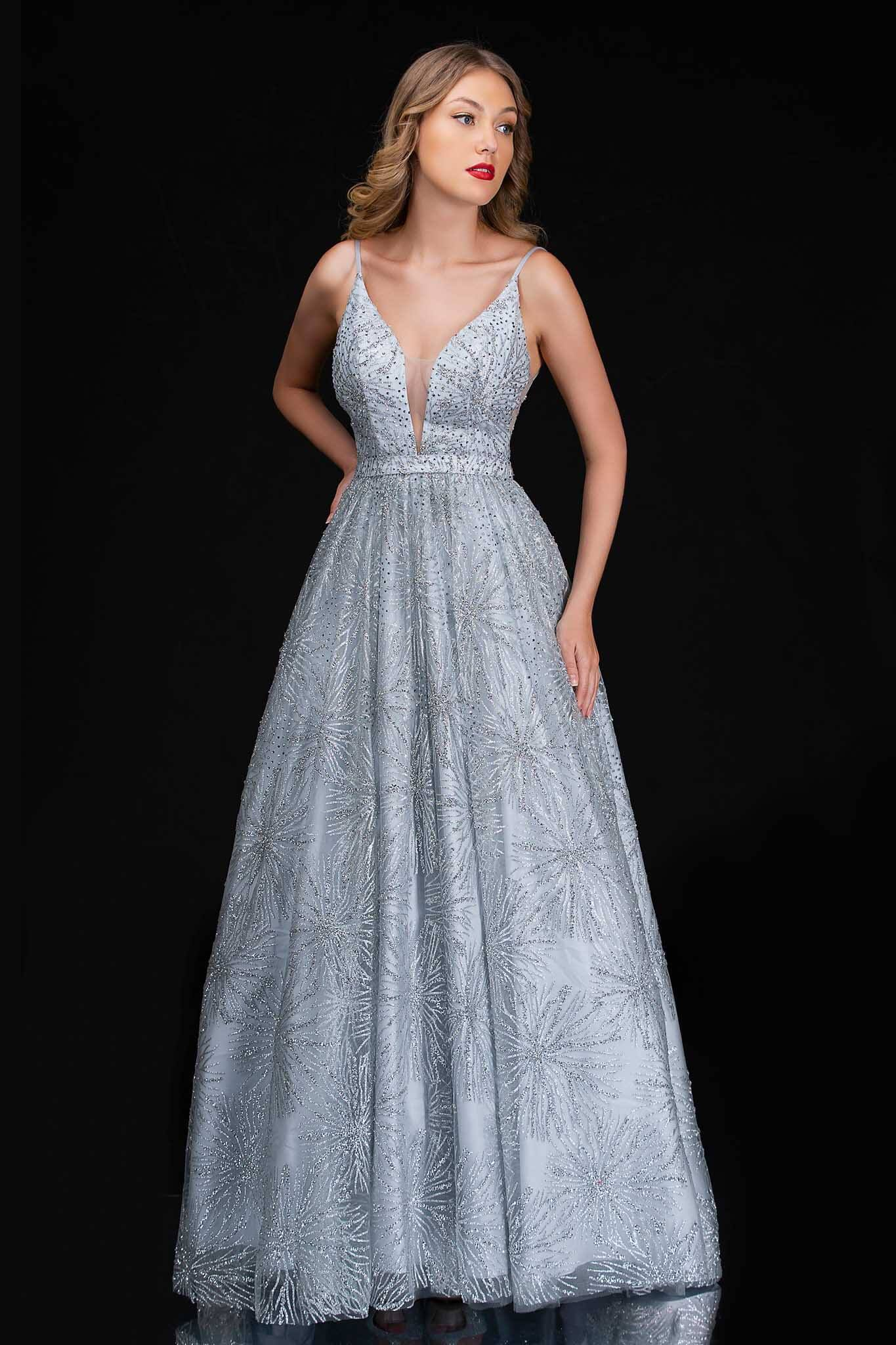 Style 6541 Nina Canacci Silver Size 10 Prom Plunge Tall Height A-line Dress on Queenly