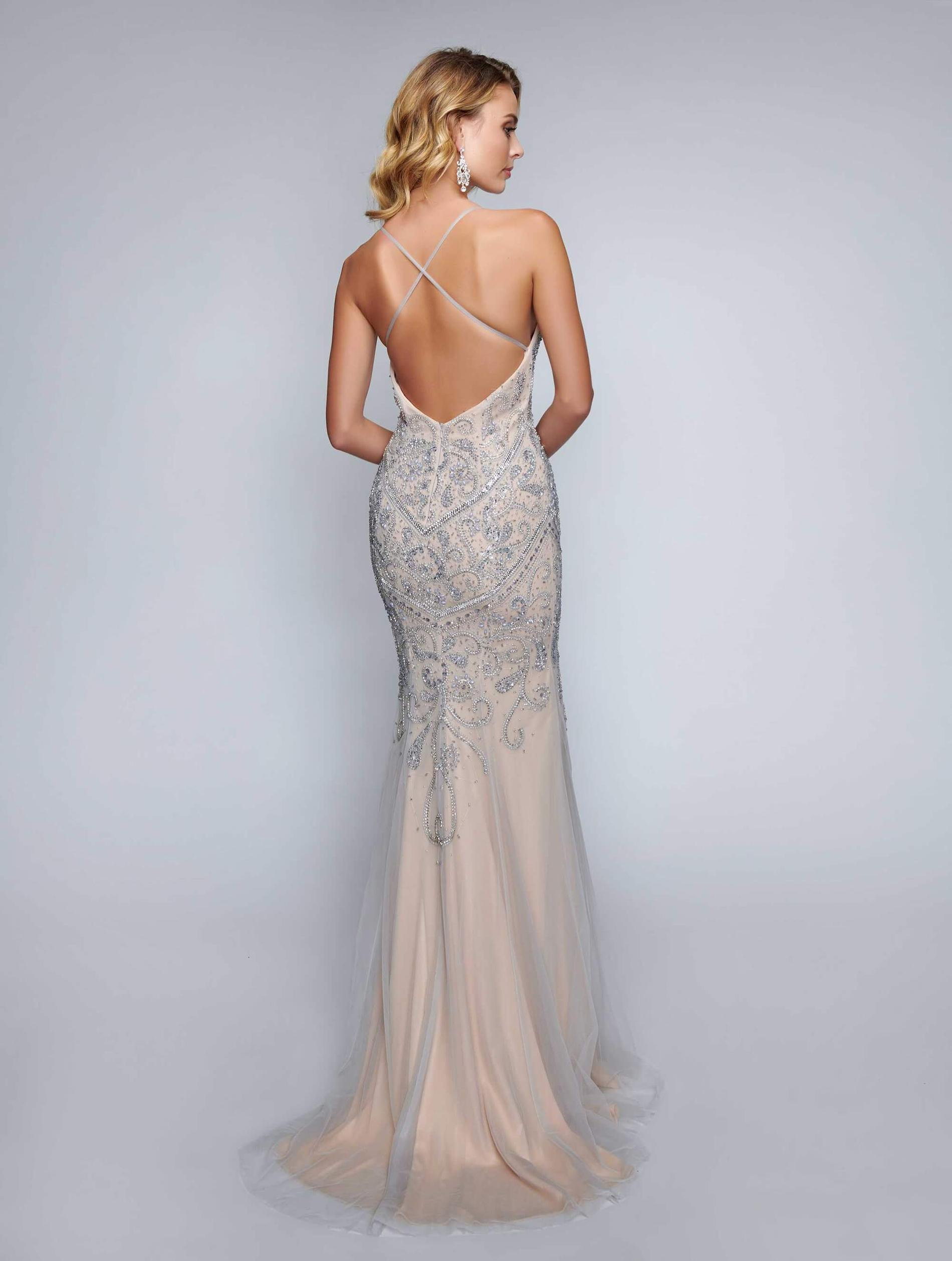 Style 8162 Nina Canacci Nude Size 8 Pageant Backless Tall Height Straight Dress on Queenly