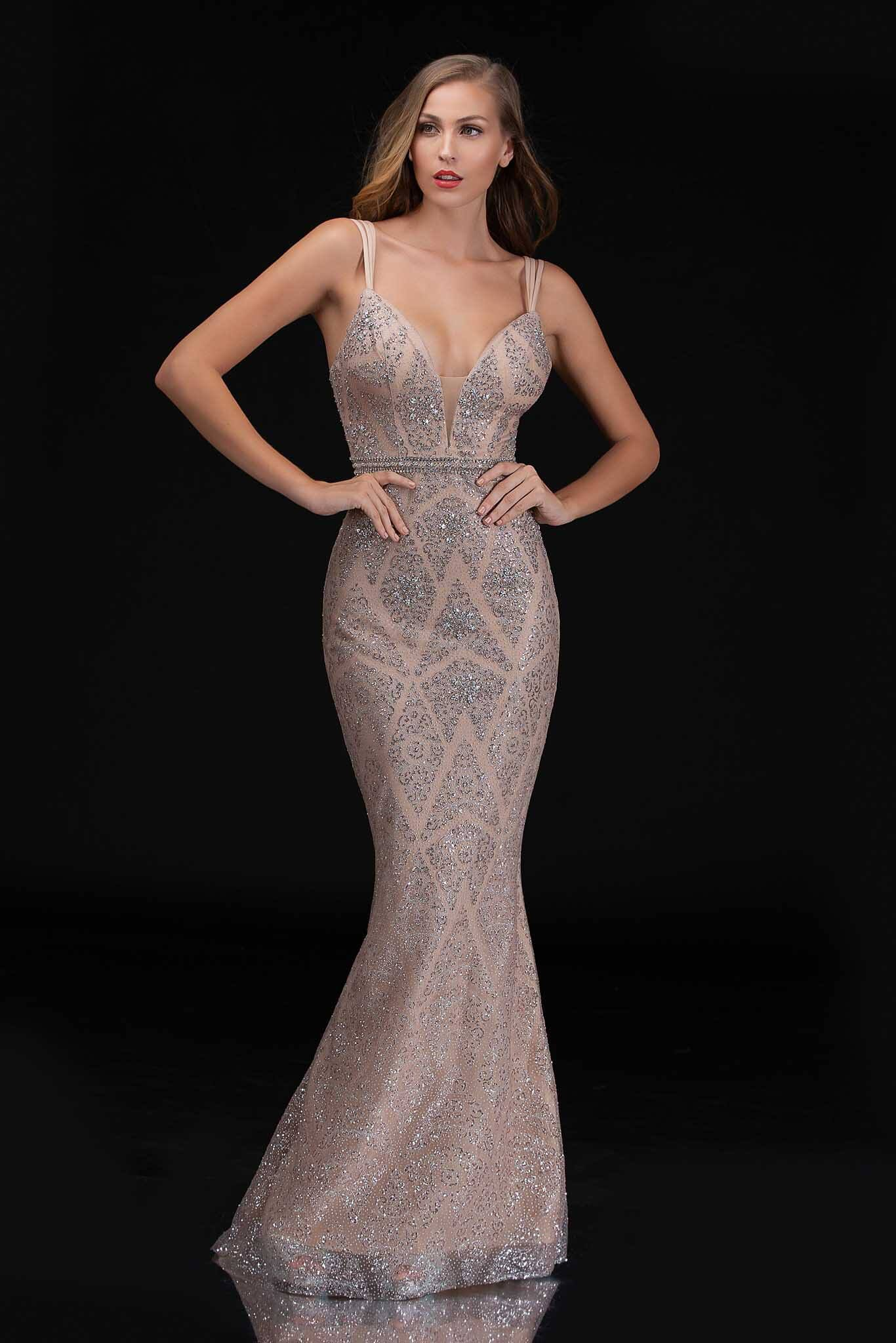 Style 8181 Nina Canacci Gold Size 6 Pattern Prom Mermaid Dress on Queenly