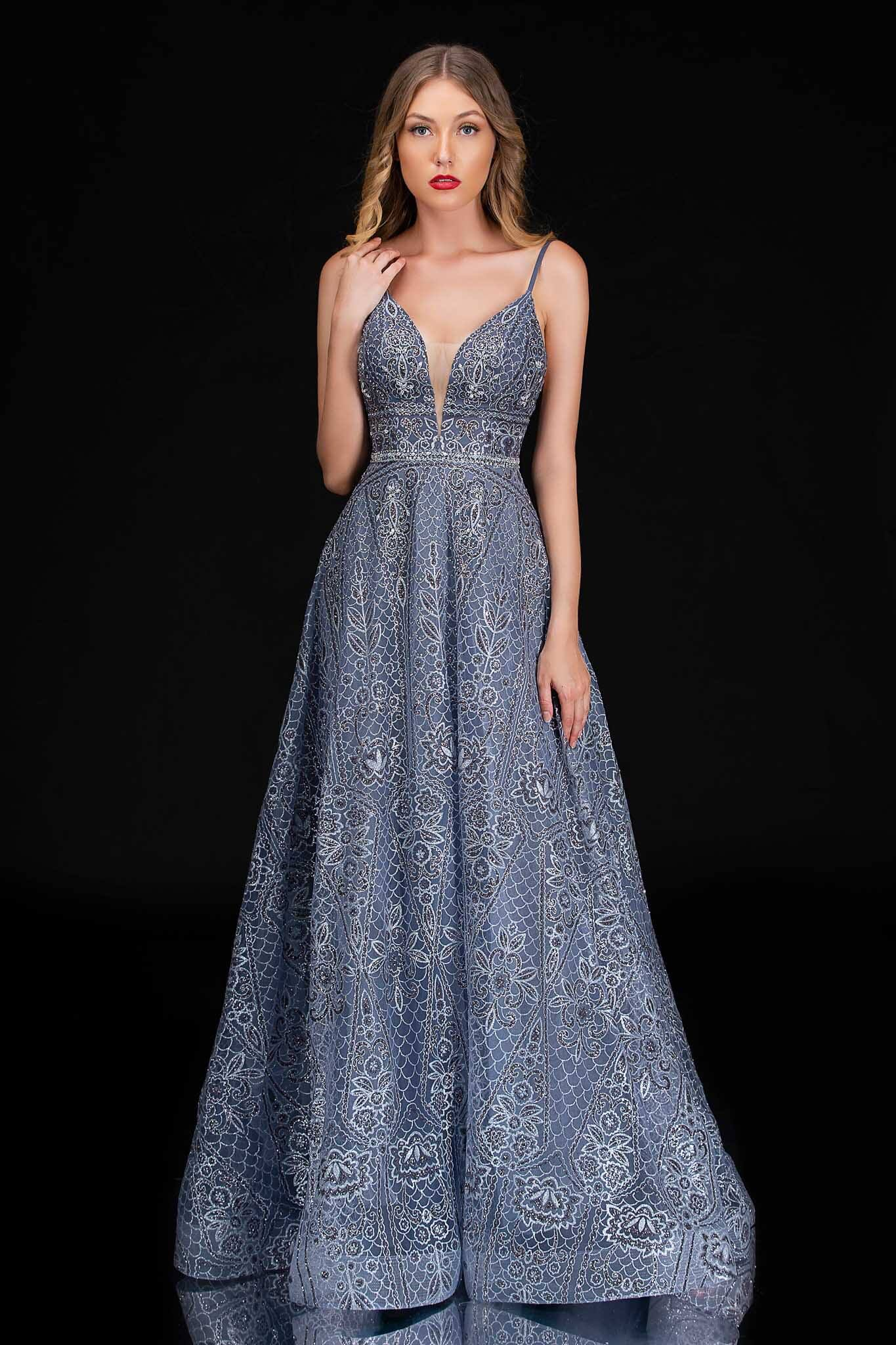 Style 8187 Nina Canacci Silver Size 10 Prom Tall Height A-line Dress on Queenly