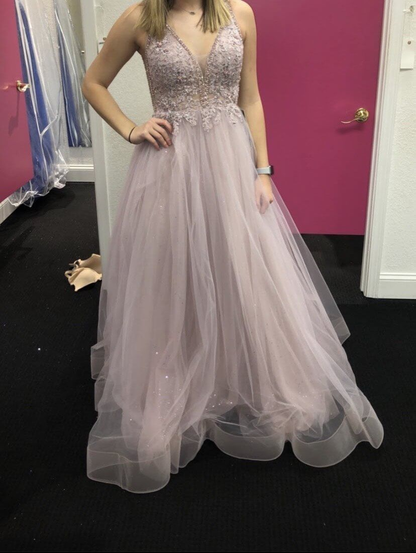 Amarra Light Purple Size 8 Tulle Lace Ball gown on Queenly