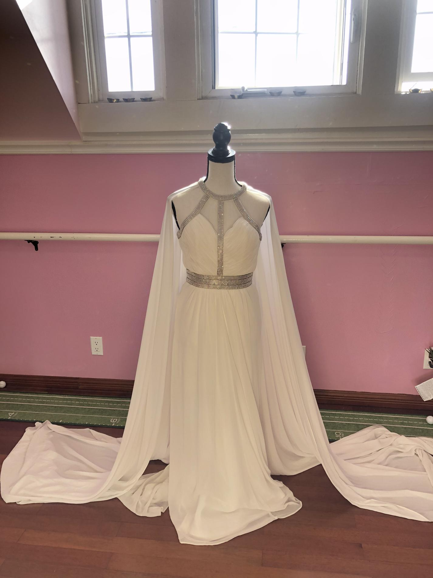 Faviana White Size 4 Cape Pageant Train Straight Dress on Queenly